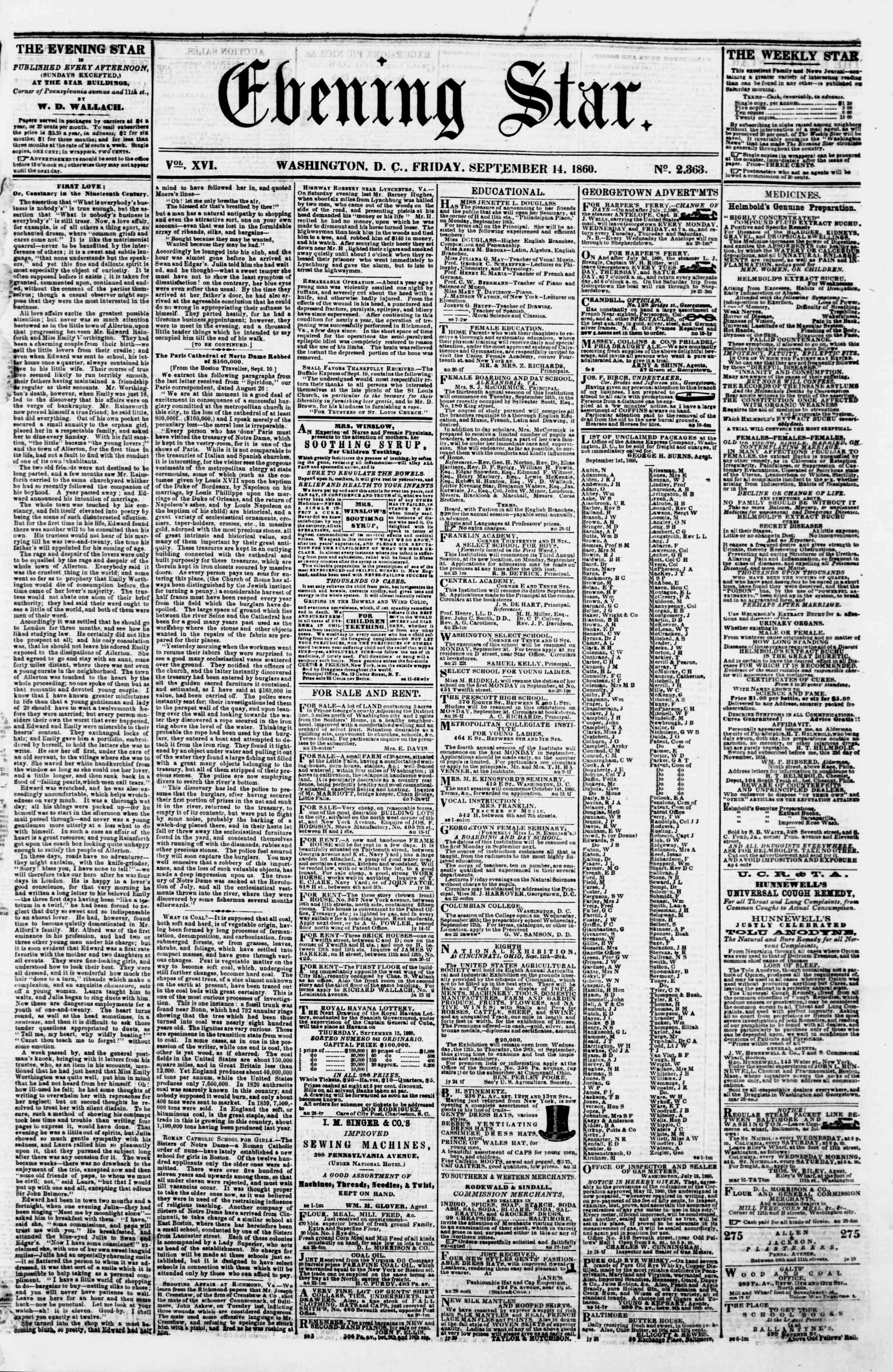 Newspaper of Evening Star dated September 14, 1860 Page 1