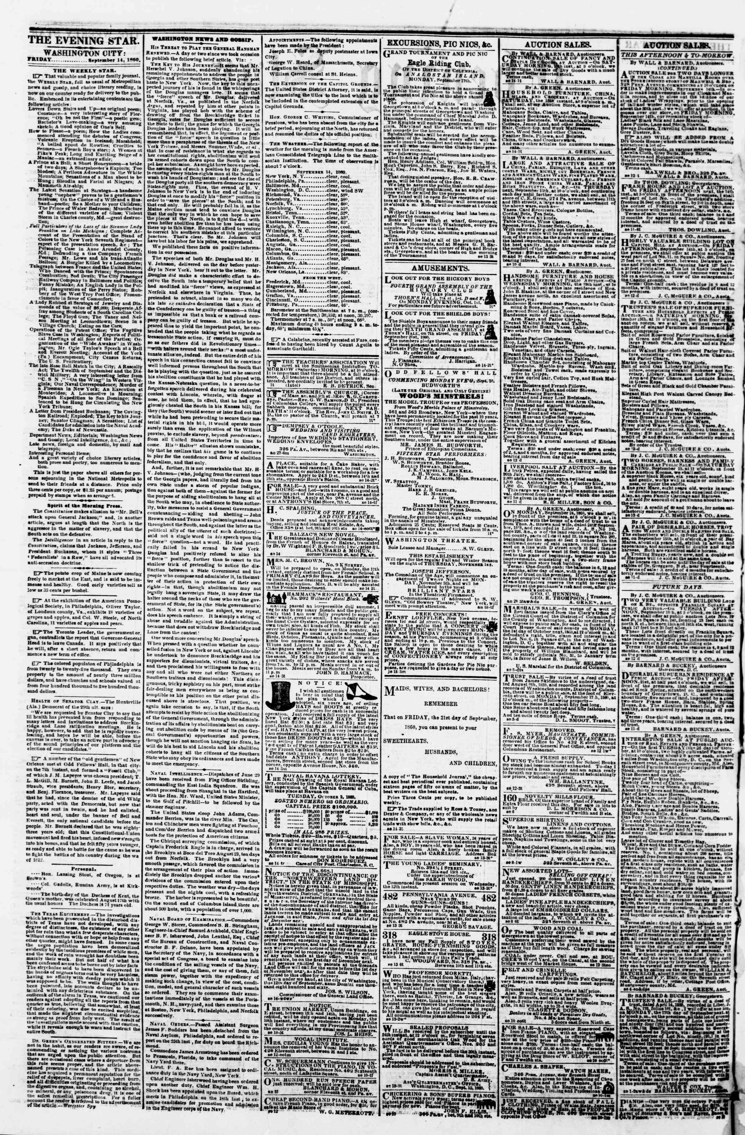 Newspaper of Evening Star dated September 14, 1860 Page 2