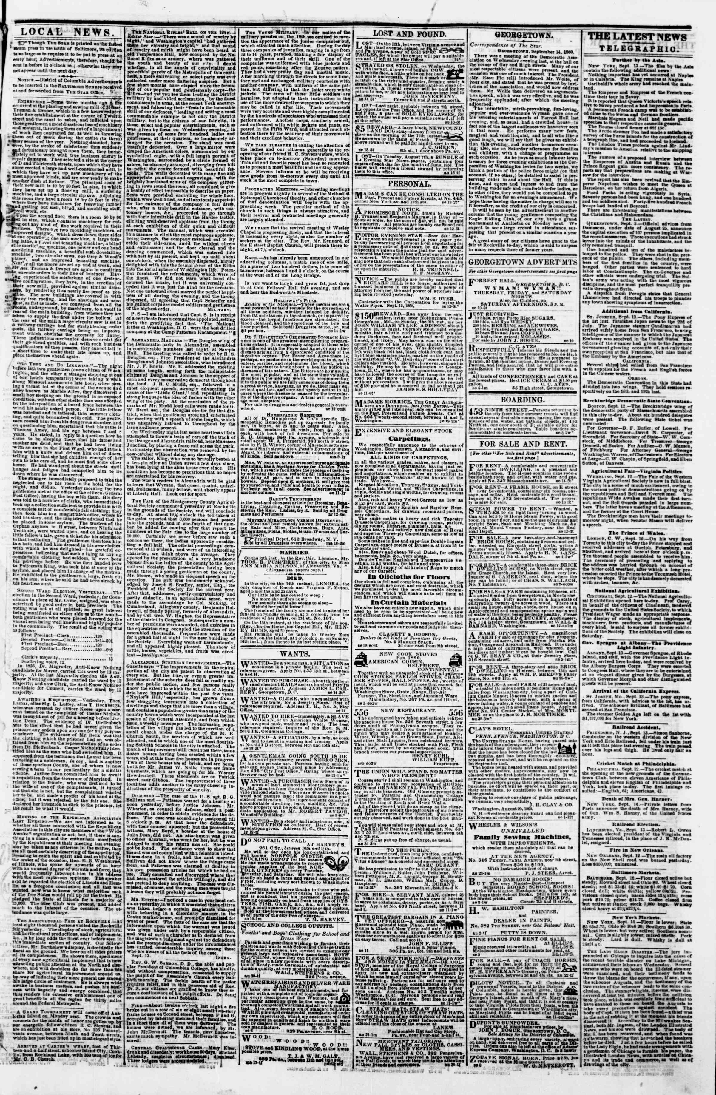 Newspaper of Evening Star dated September 14, 1860 Page 3