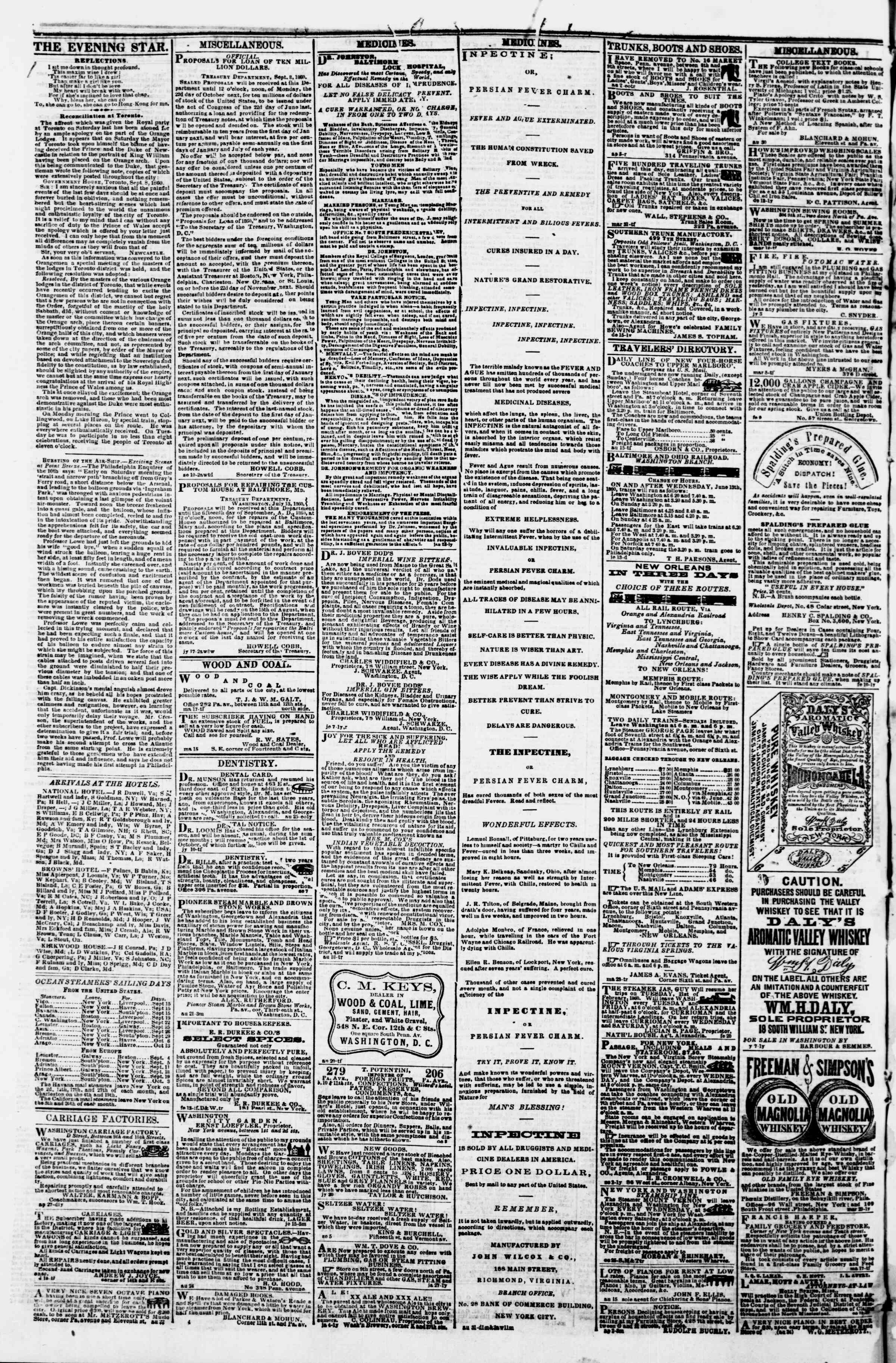 Newspaper of Evening Star dated September 14, 1860 Page 4