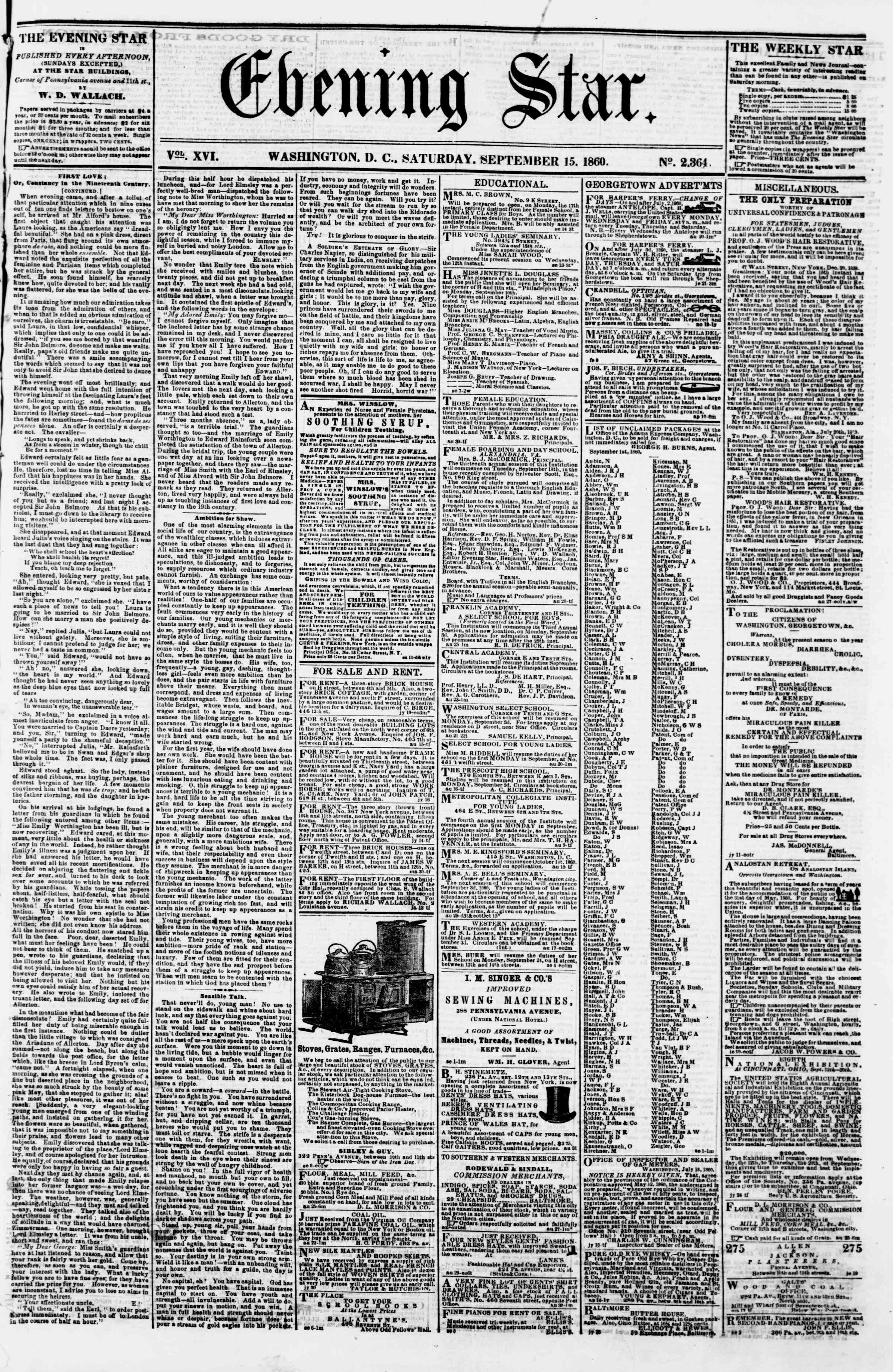 Newspaper of Evening Star dated September 15, 1860 Page 1