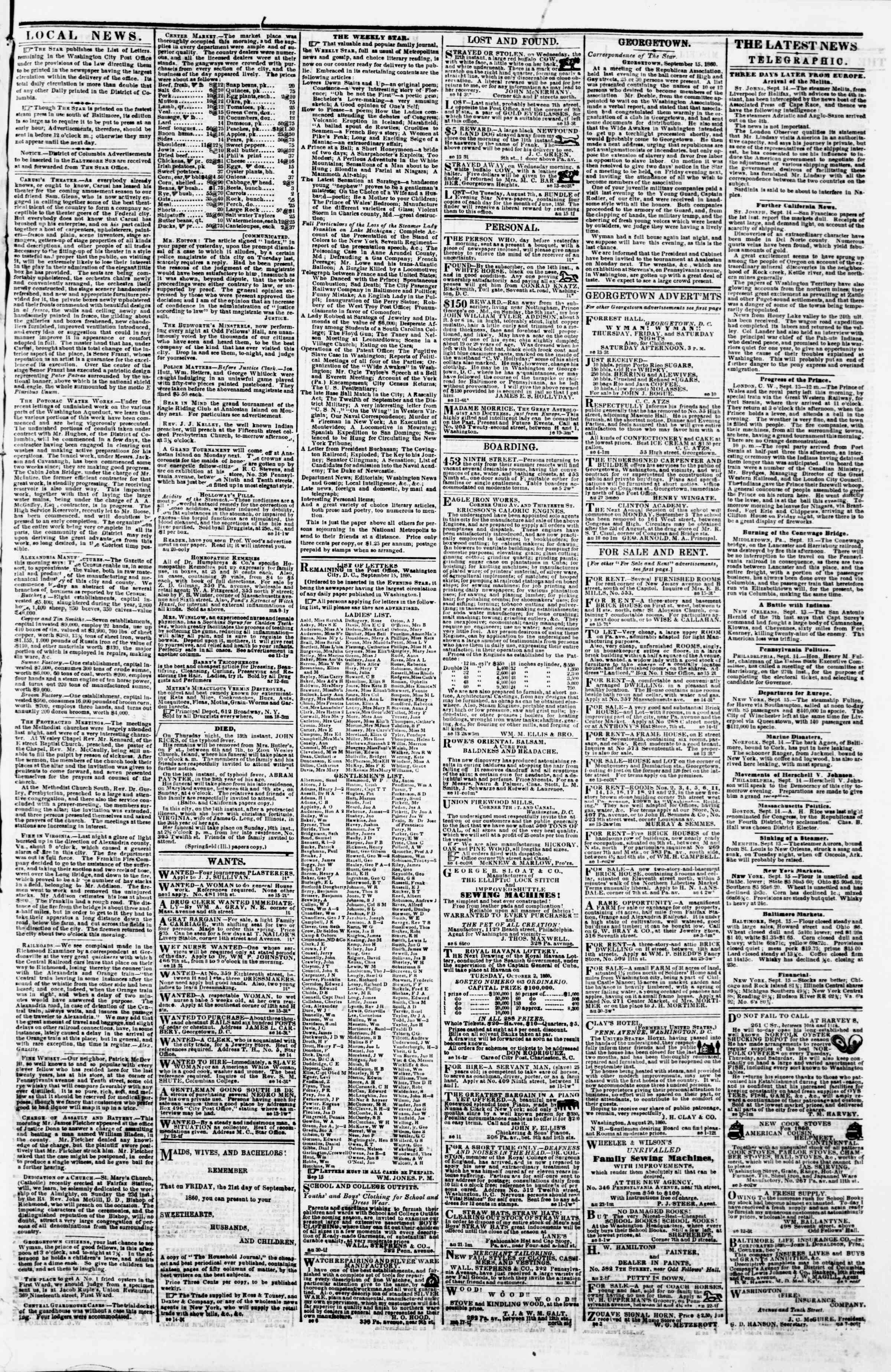 Newspaper of Evening Star dated September 15, 1860 Page 3