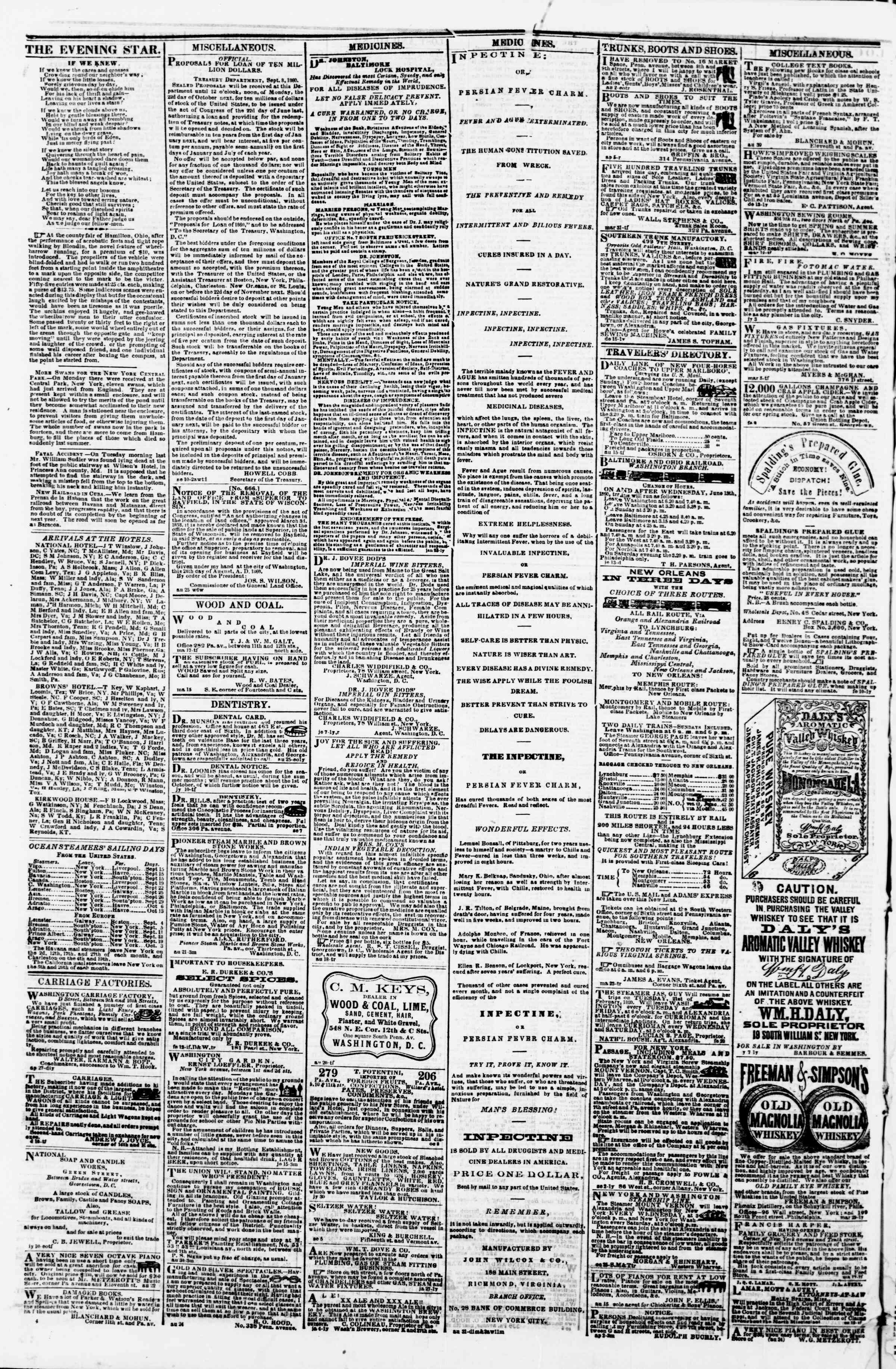 Newspaper of Evening Star dated September 15, 1860 Page 4