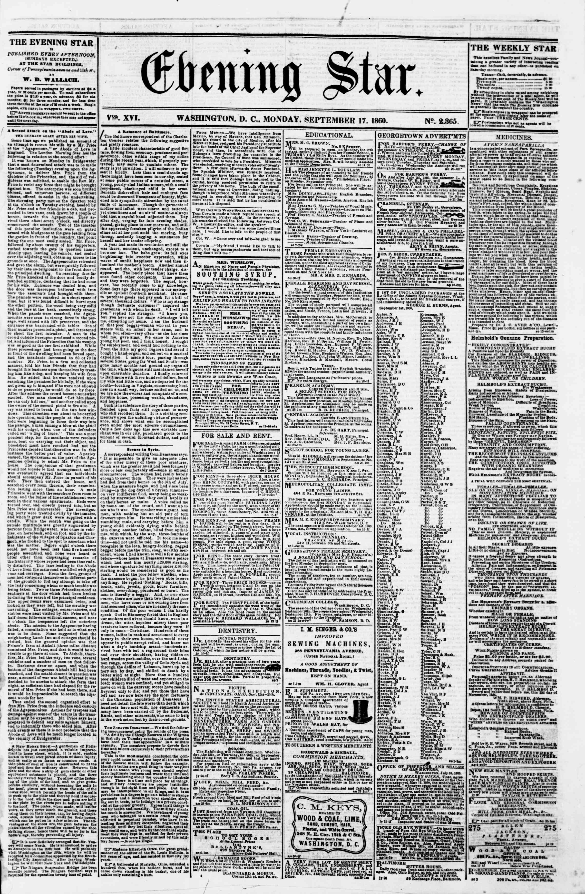 Newspaper of Evening Star dated September 17, 1860 Page 1