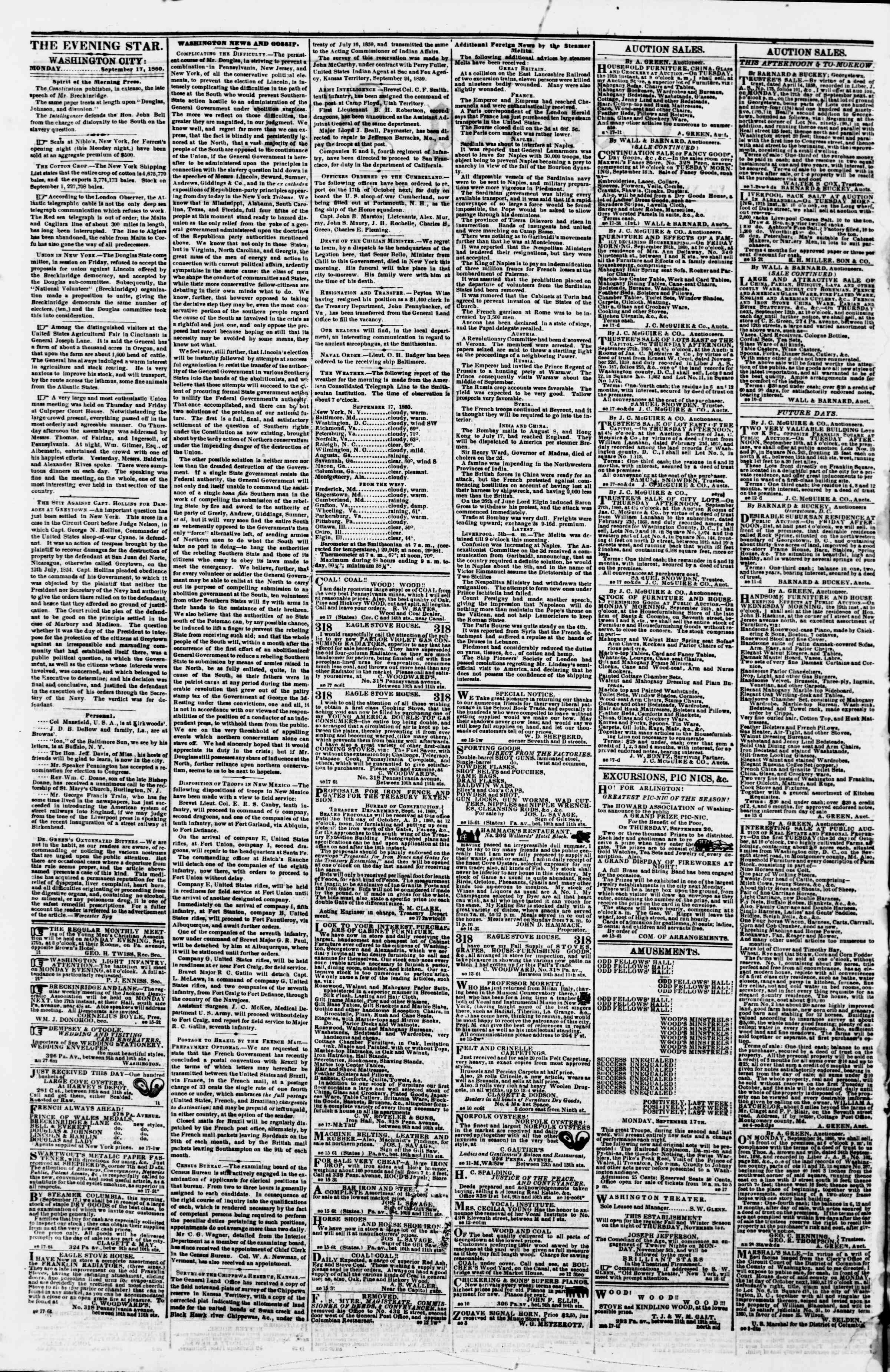 Newspaper of Evening Star dated September 17, 1860 Page 2