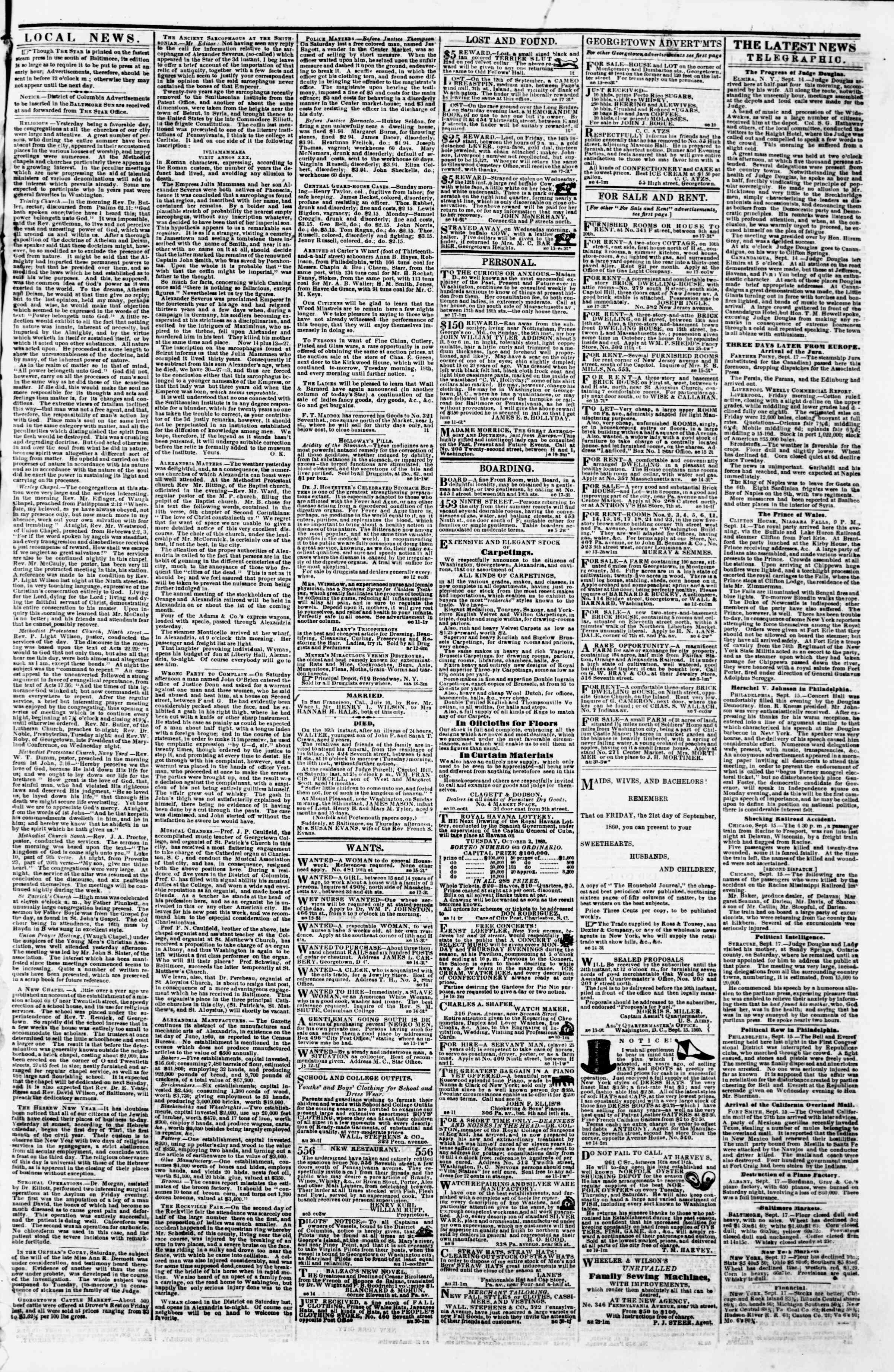 Newspaper of Evening Star dated September 17, 1860 Page 3