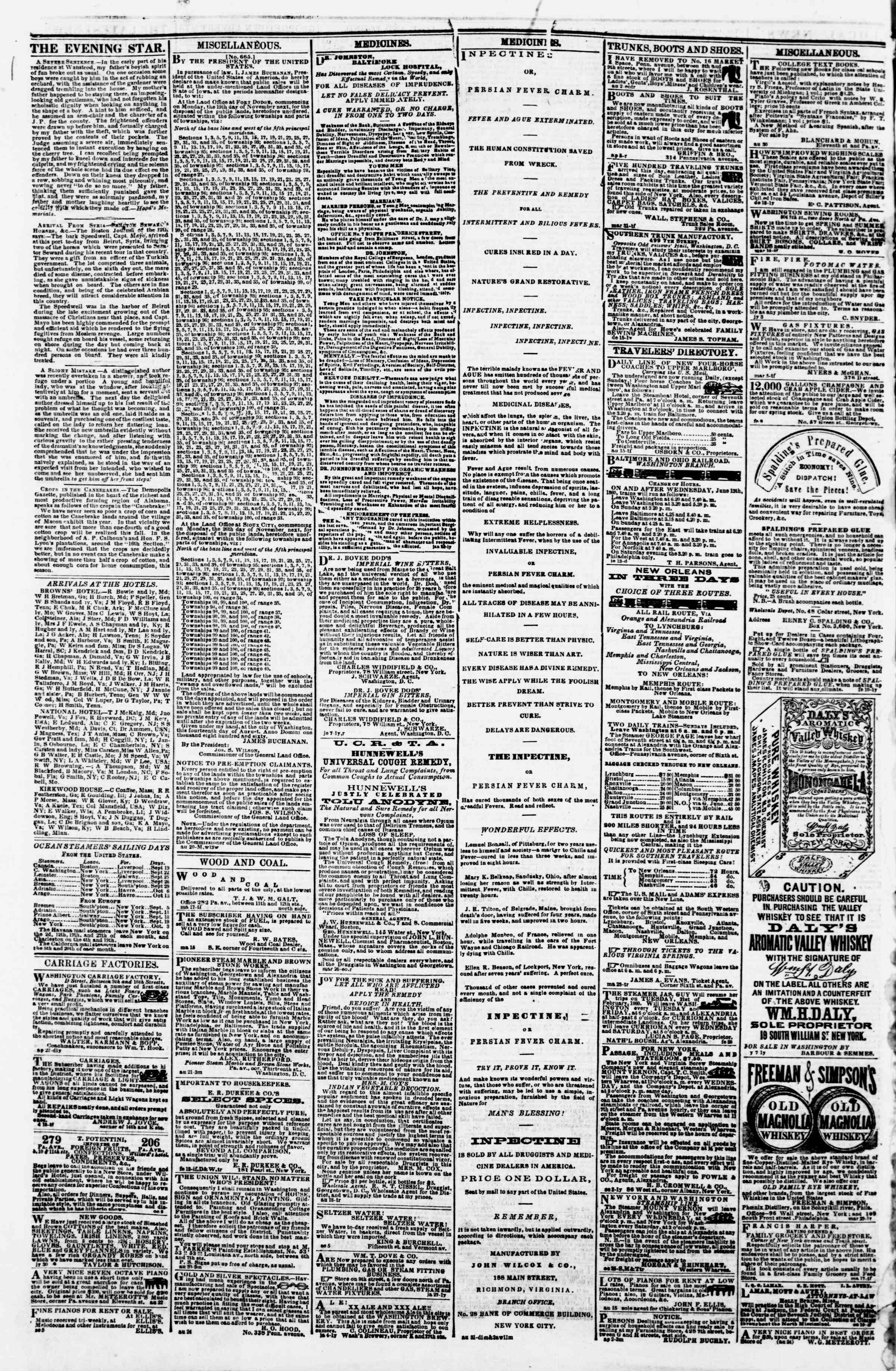 Newspaper of Evening Star dated September 17, 1860 Page 4