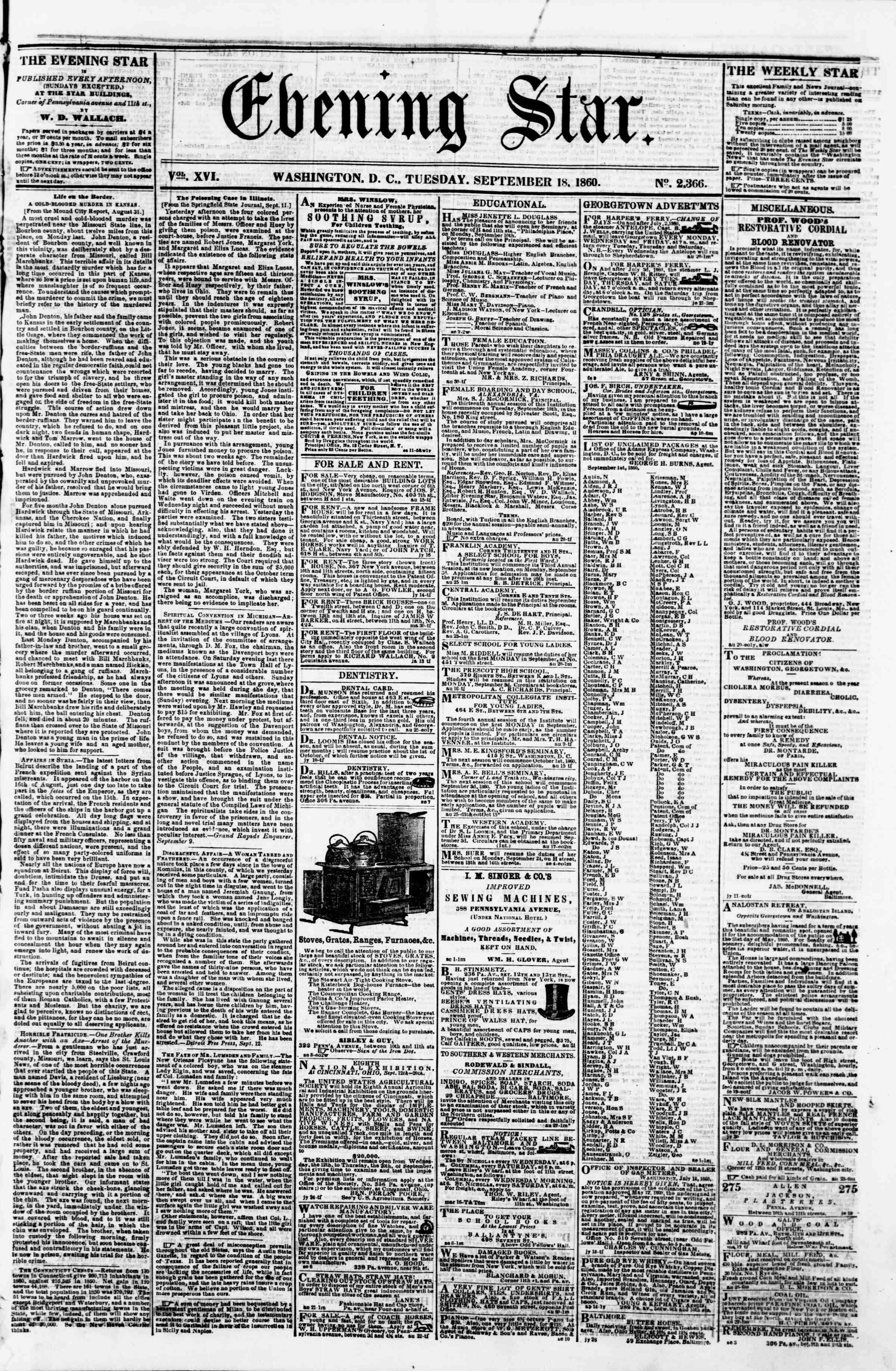Newspaper of Evening Star dated September 18, 1860 Page 1