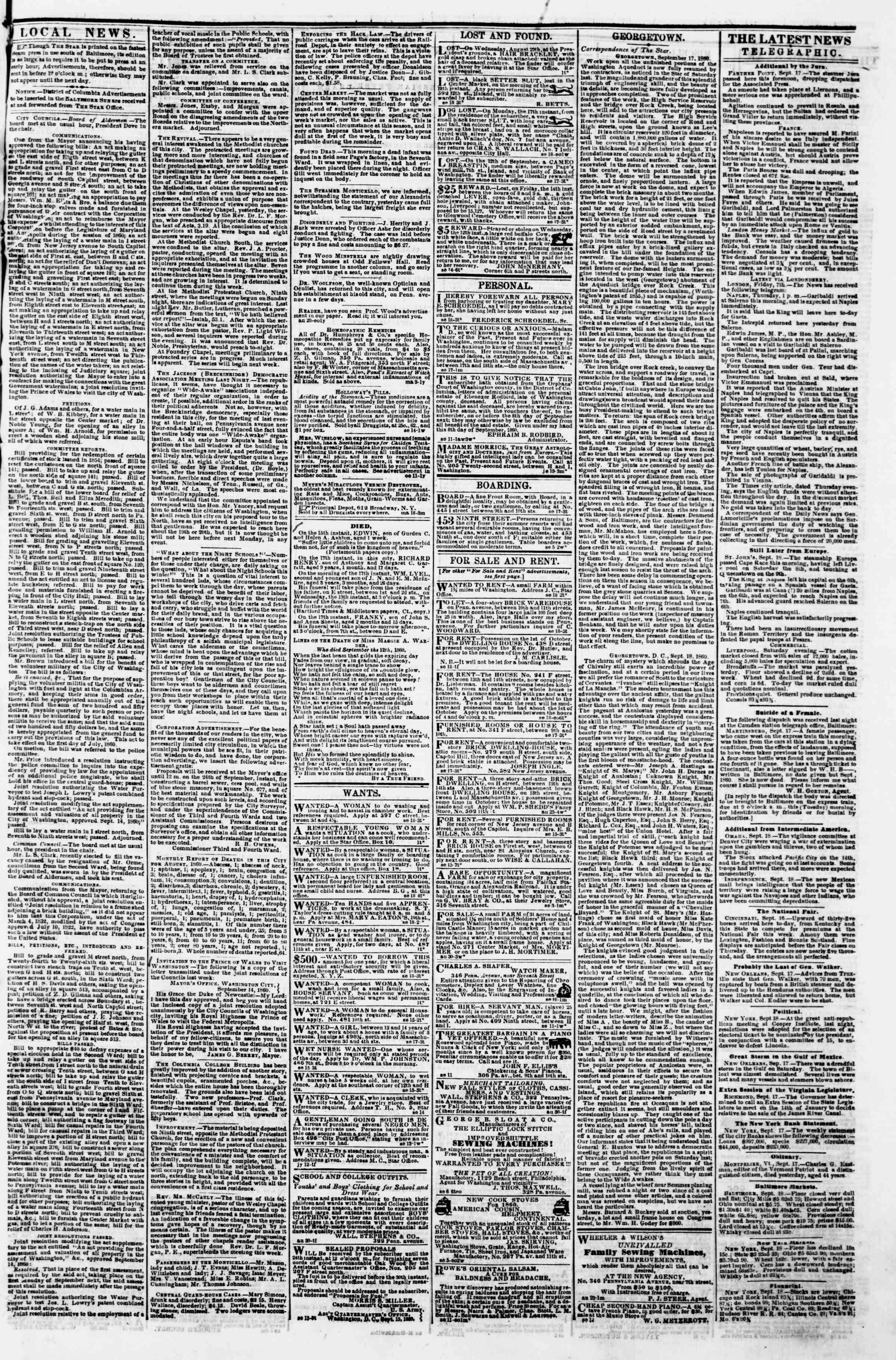 Newspaper of Evening Star dated September 18, 1860 Page 3