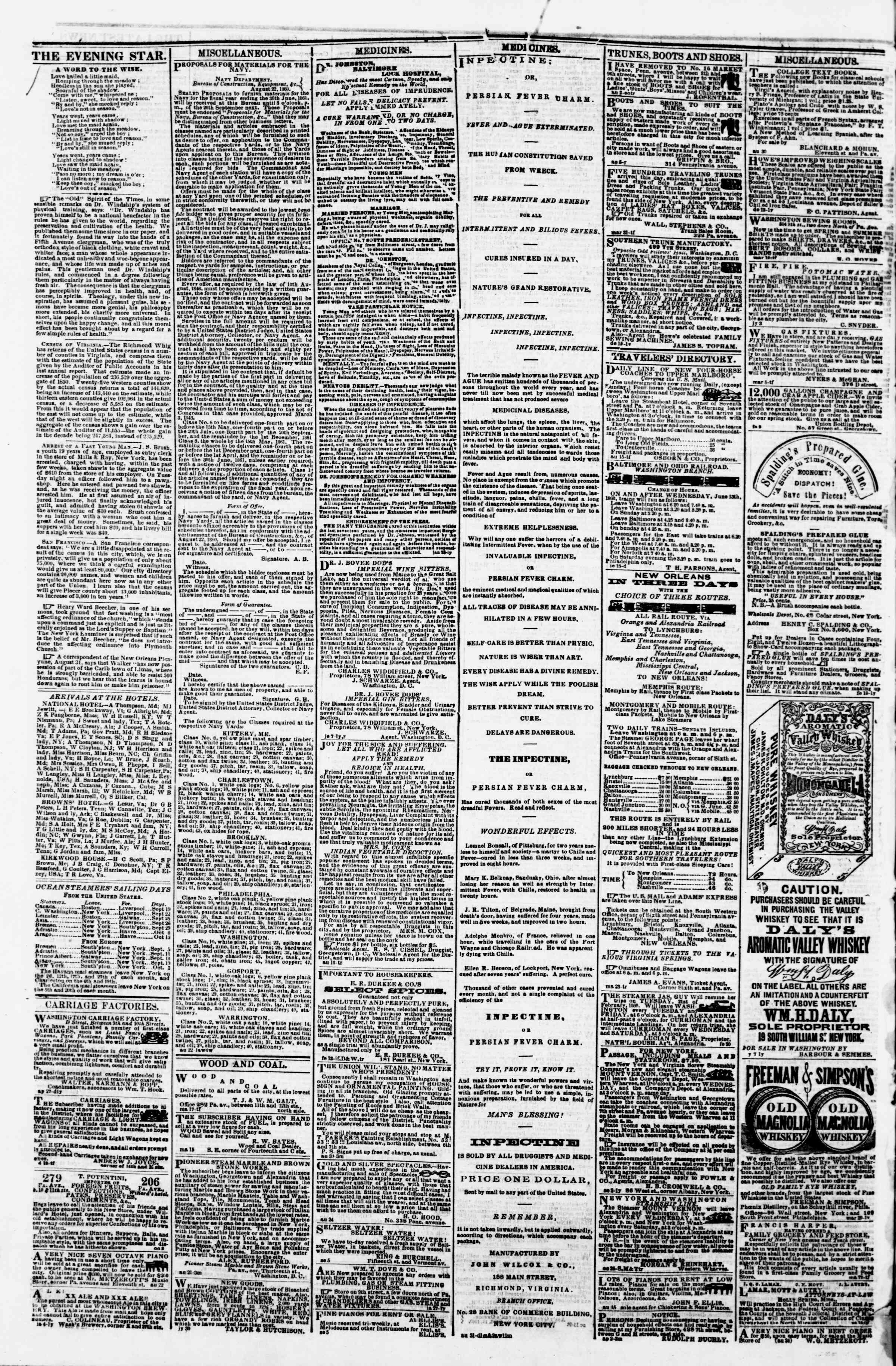 Newspaper of Evening Star dated September 18, 1860 Page 4