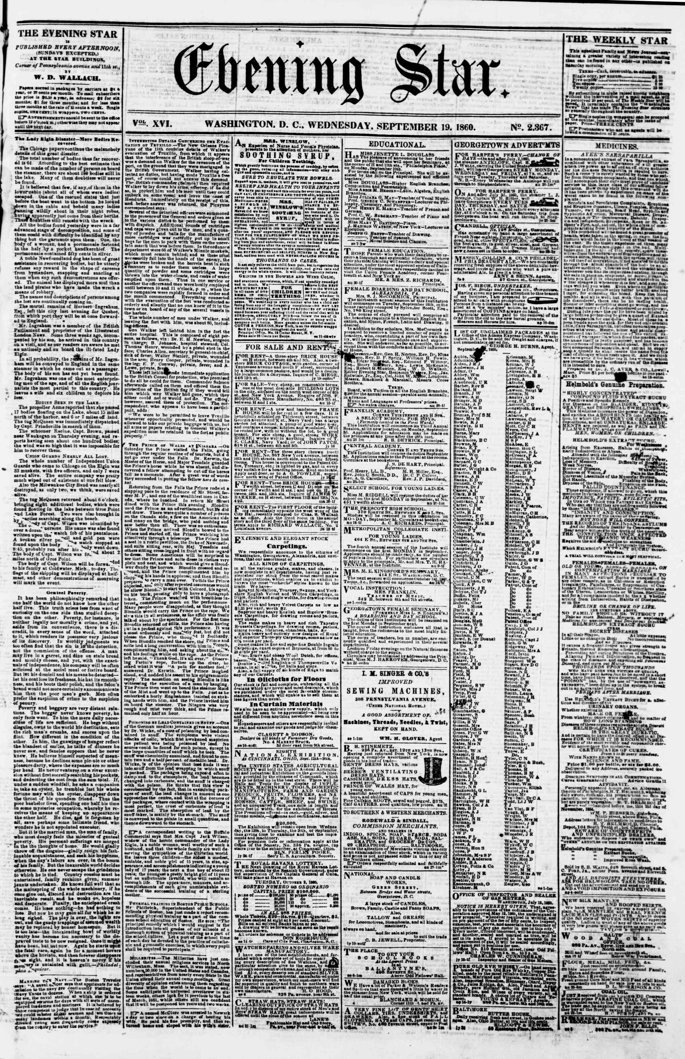 19 Eylül 1860 tarihli Evening Star Gazetesi Sayfa 1