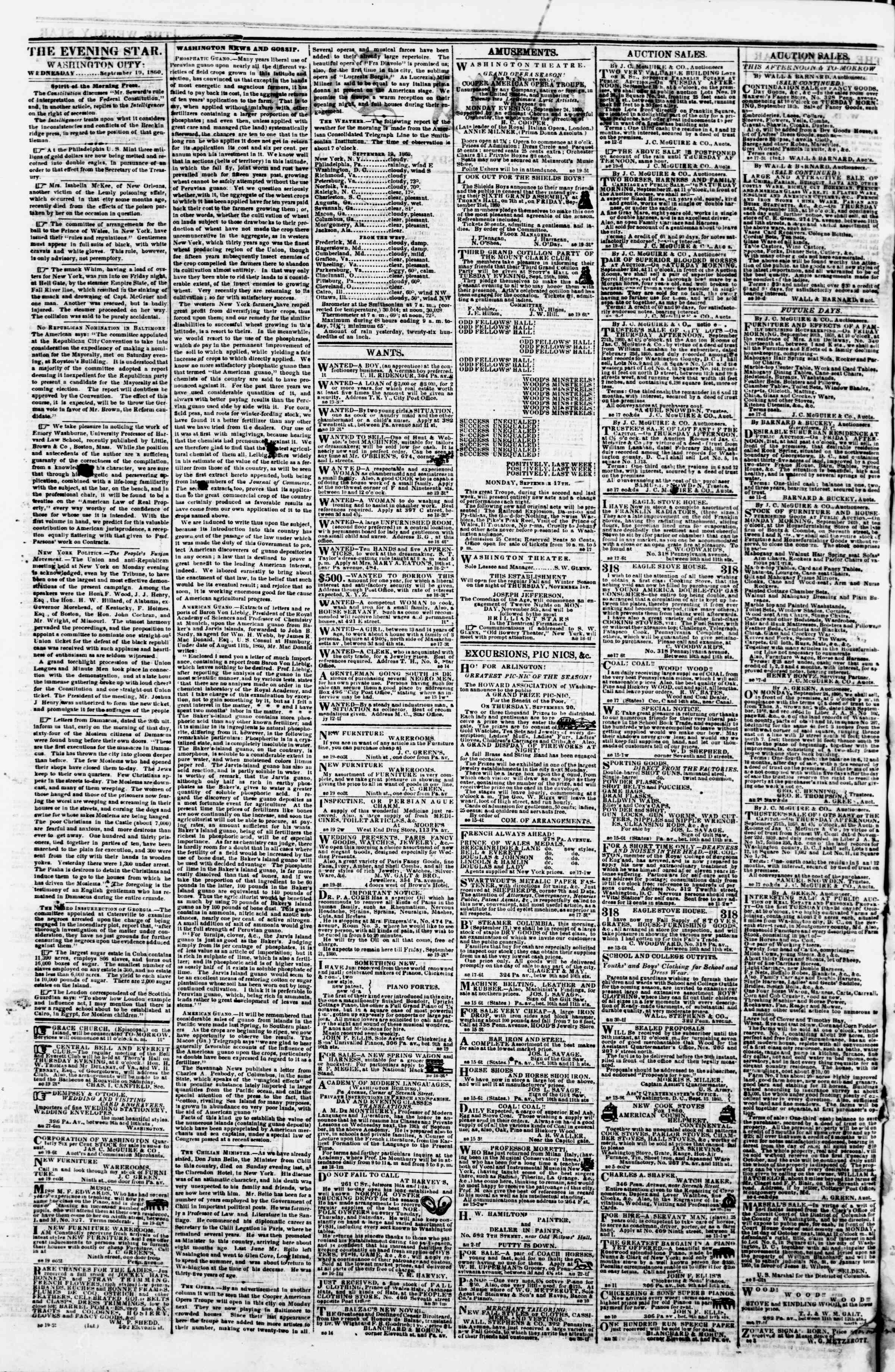 Newspaper of Evening Star dated September 19, 1860 Page 2