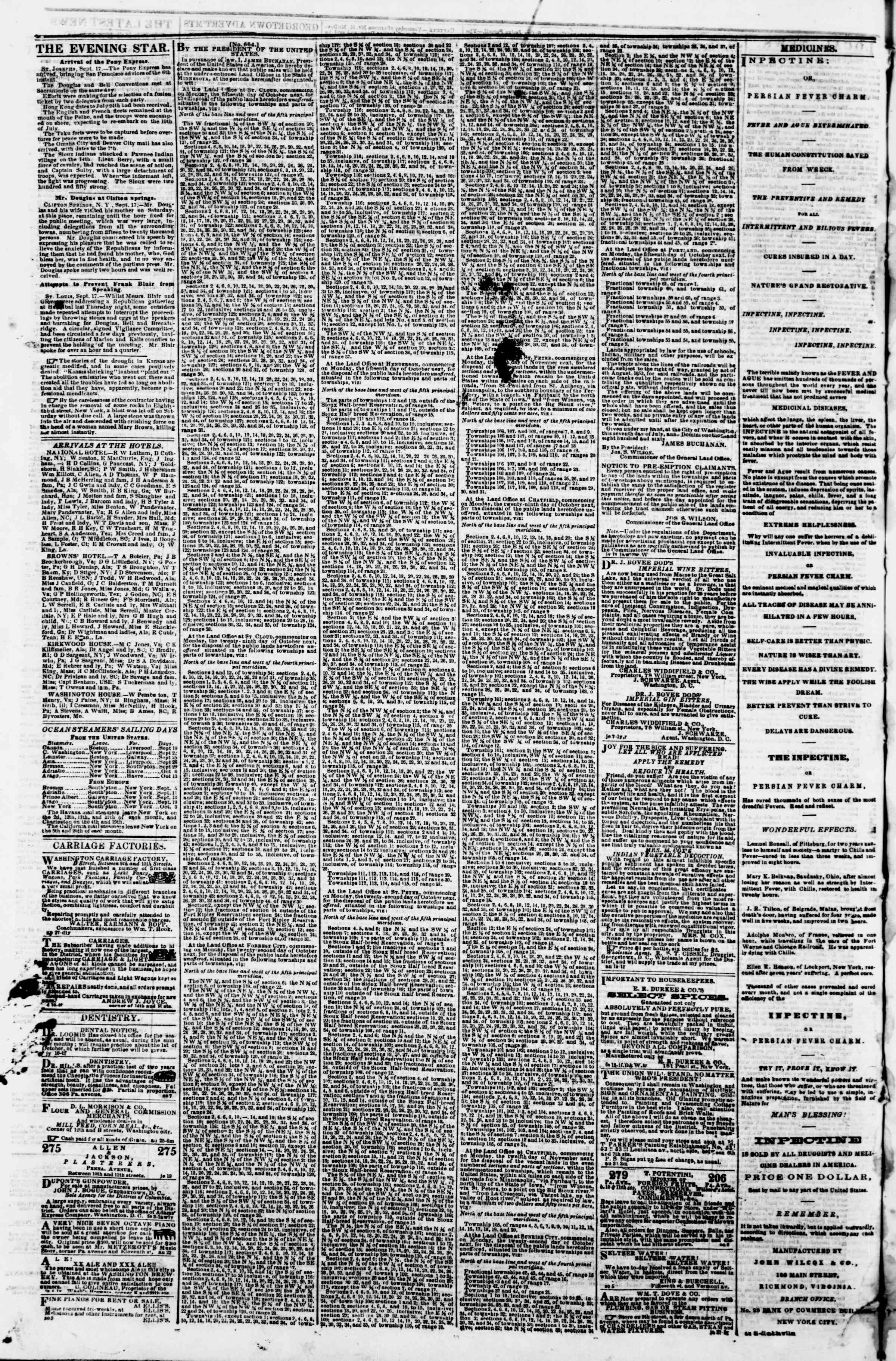 Newspaper of Evening Star dated September 19, 1860 Page 4