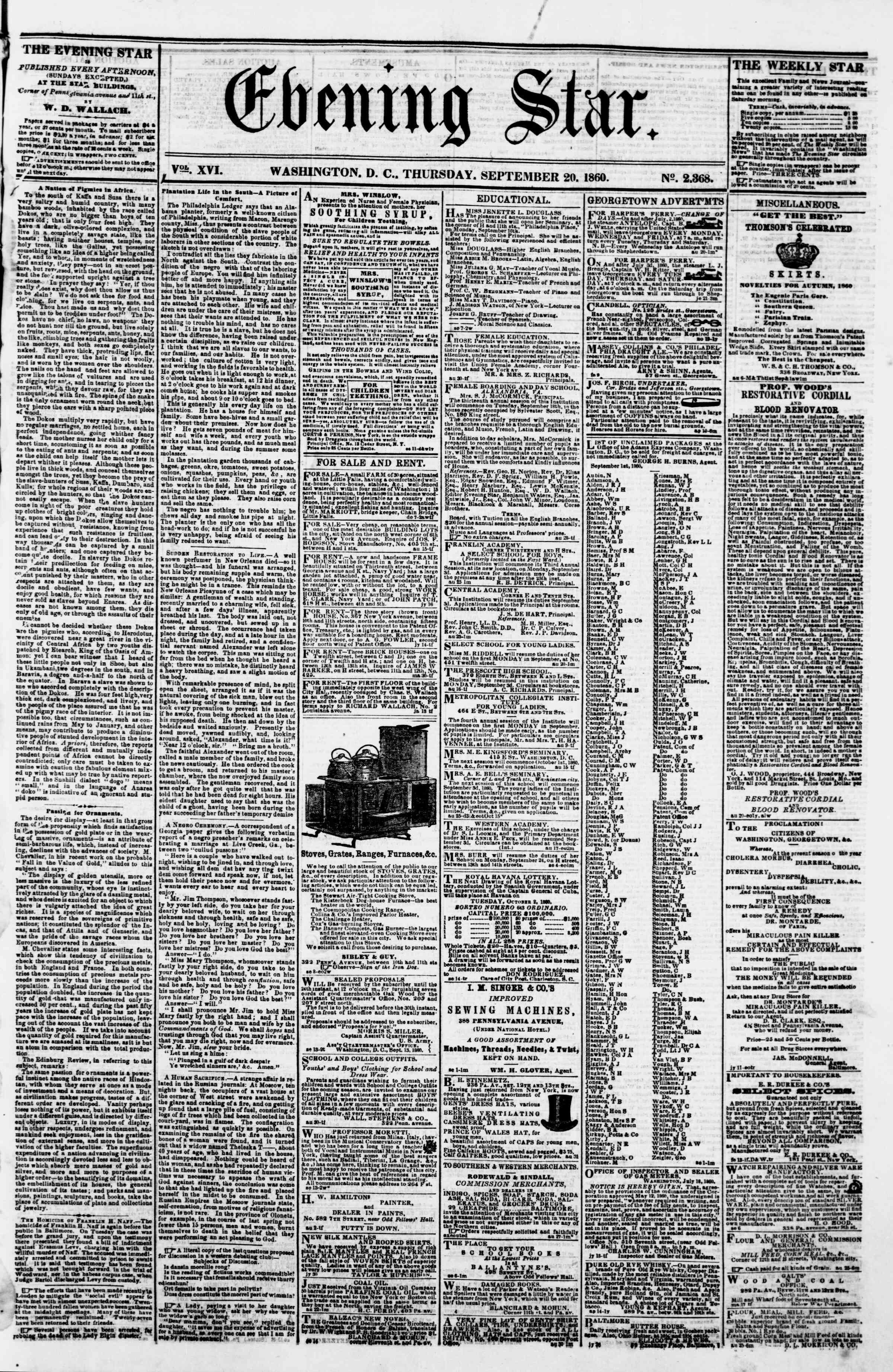 Newspaper of Evening Star dated September 20, 1860 Page 1