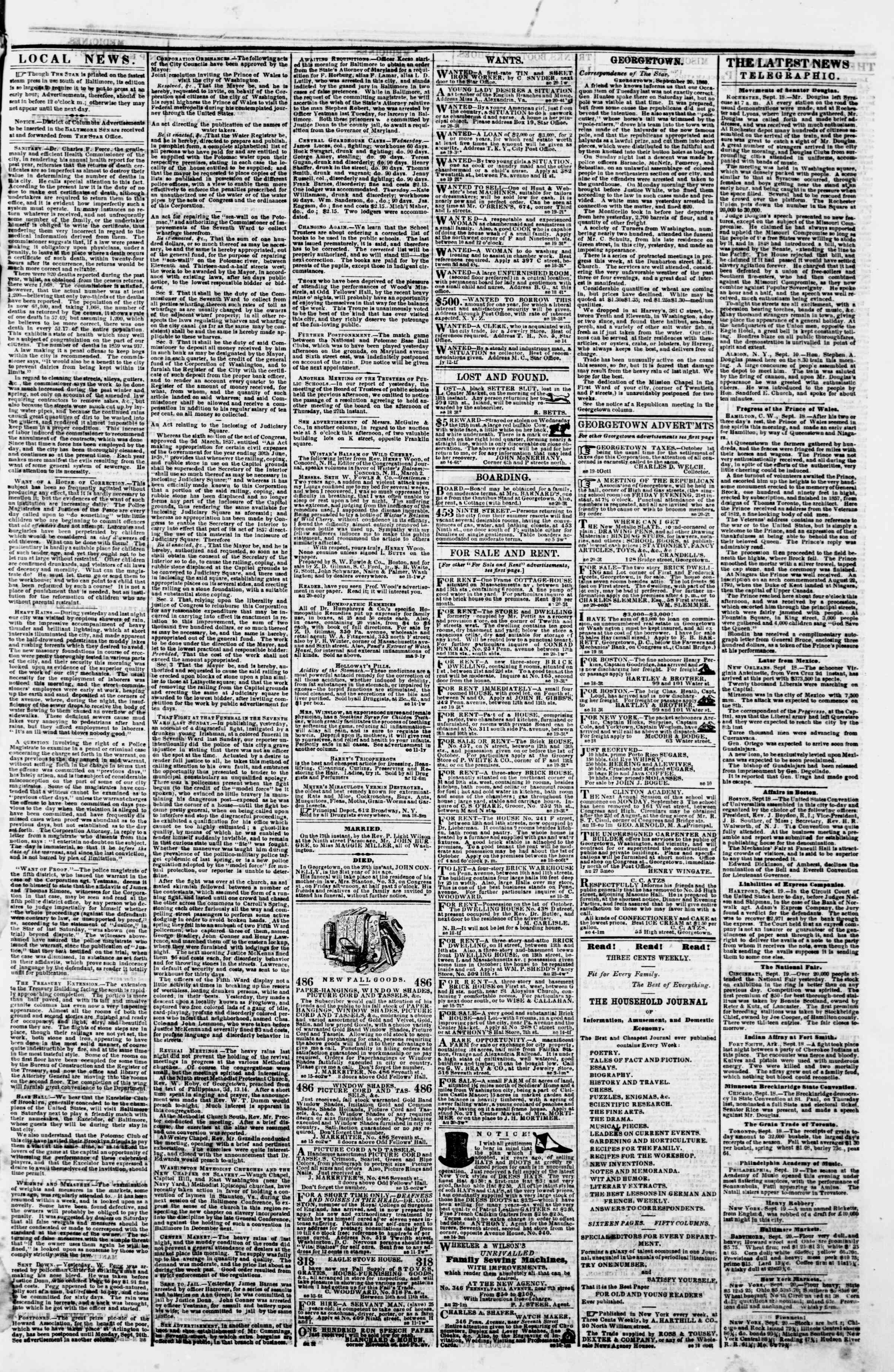 Newspaper of Evening Star dated September 20, 1860 Page 3