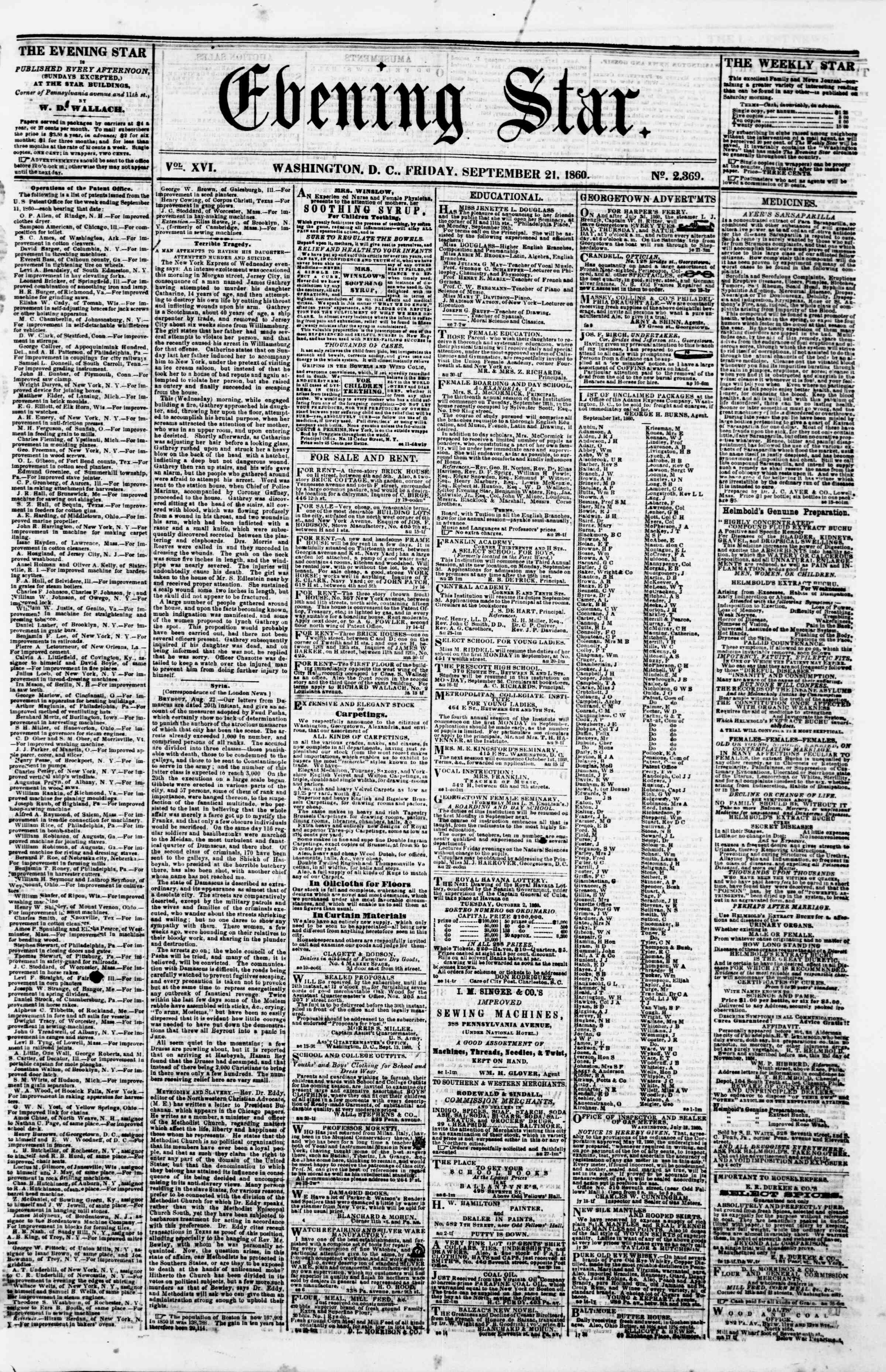 Newspaper of Evening Star dated September 21, 1860 Page 1