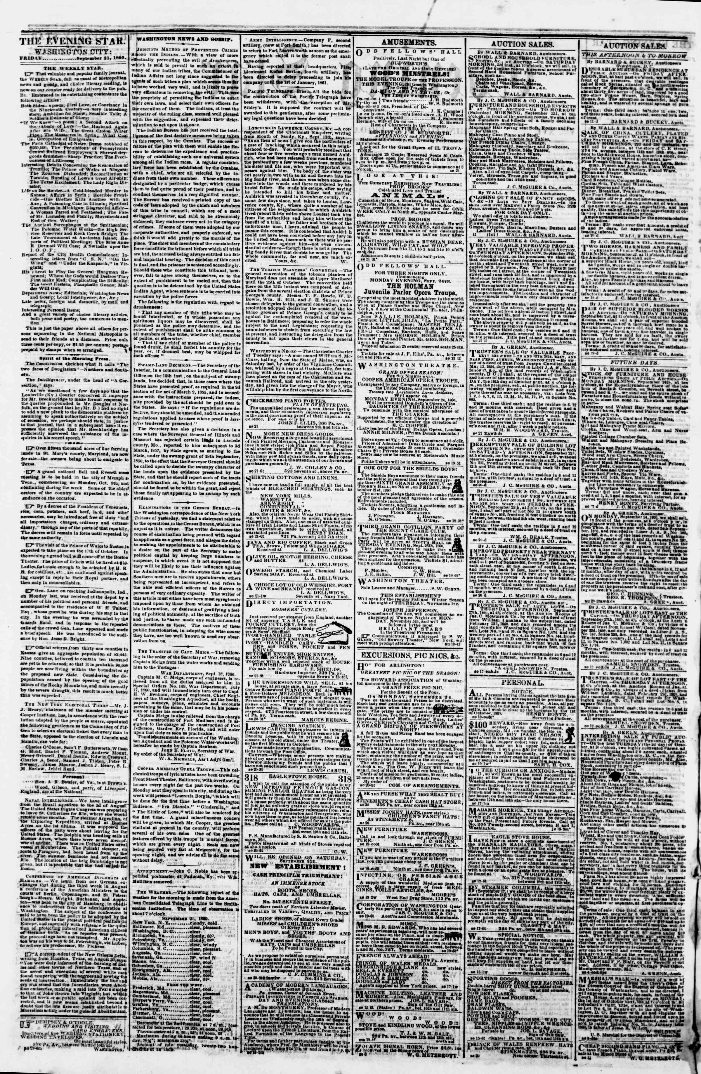 Newspaper of Evening Star dated September 21, 1860 Page 2
