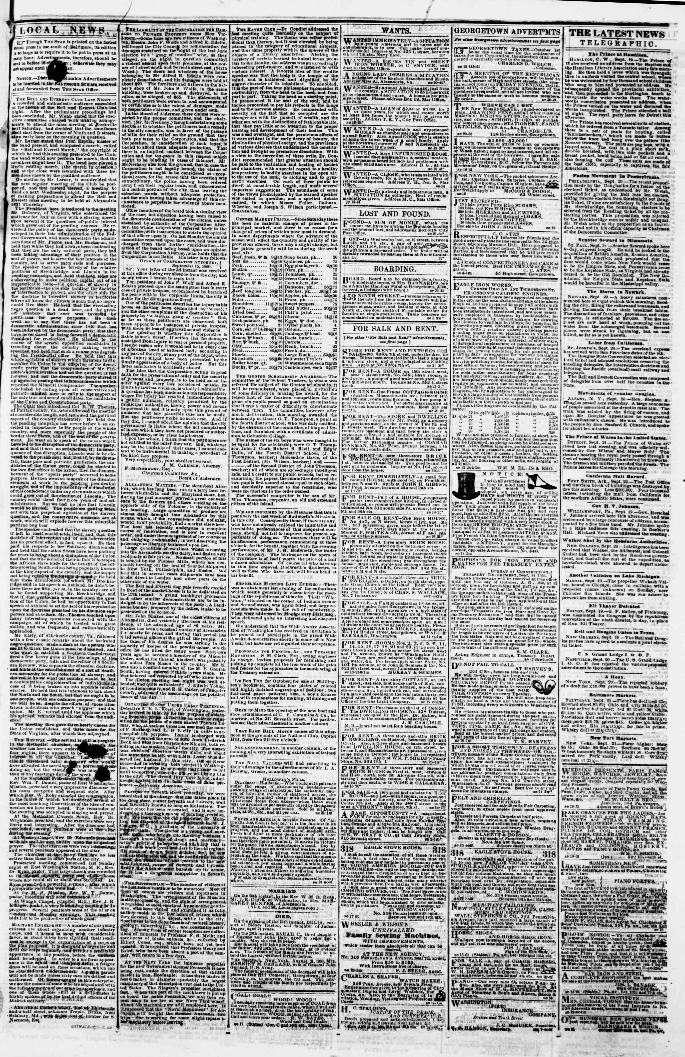 21 Eylül 1860 tarihli Evening Star Gazetesi Sayfa 3