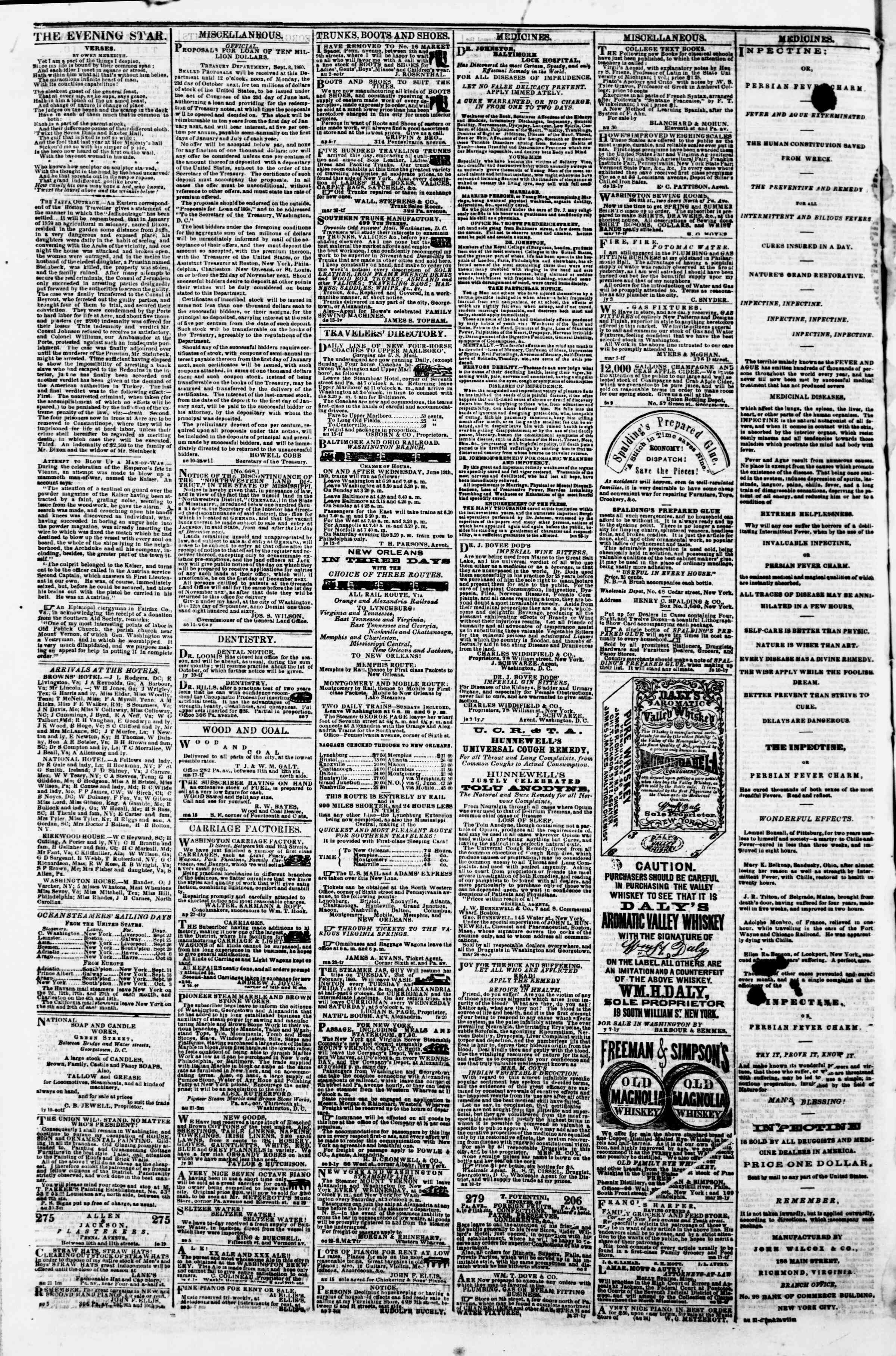 Newspaper of Evening Star dated September 21, 1860 Page 4