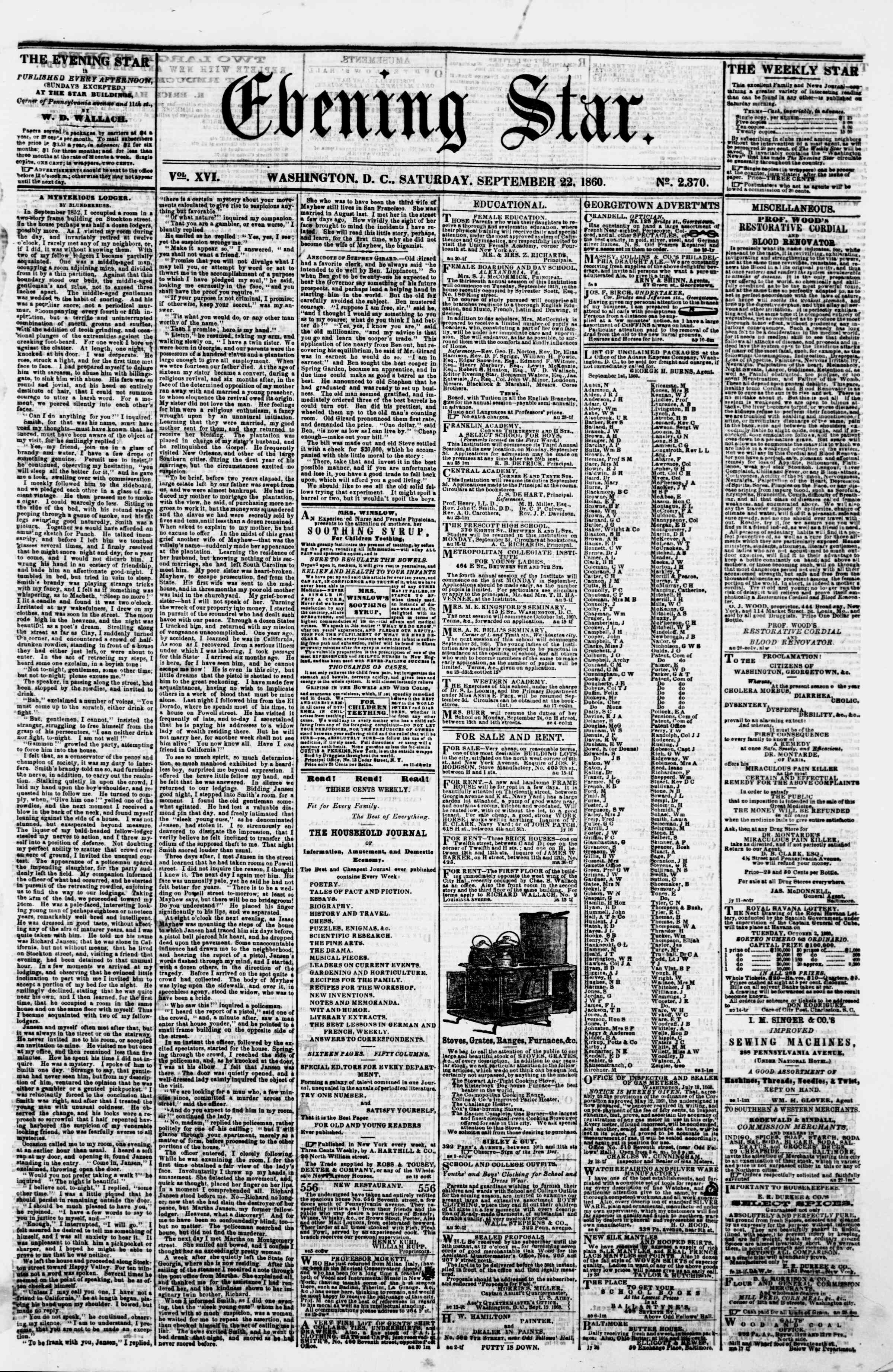 Newspaper of Evening Star dated September 22, 1860 Page 1