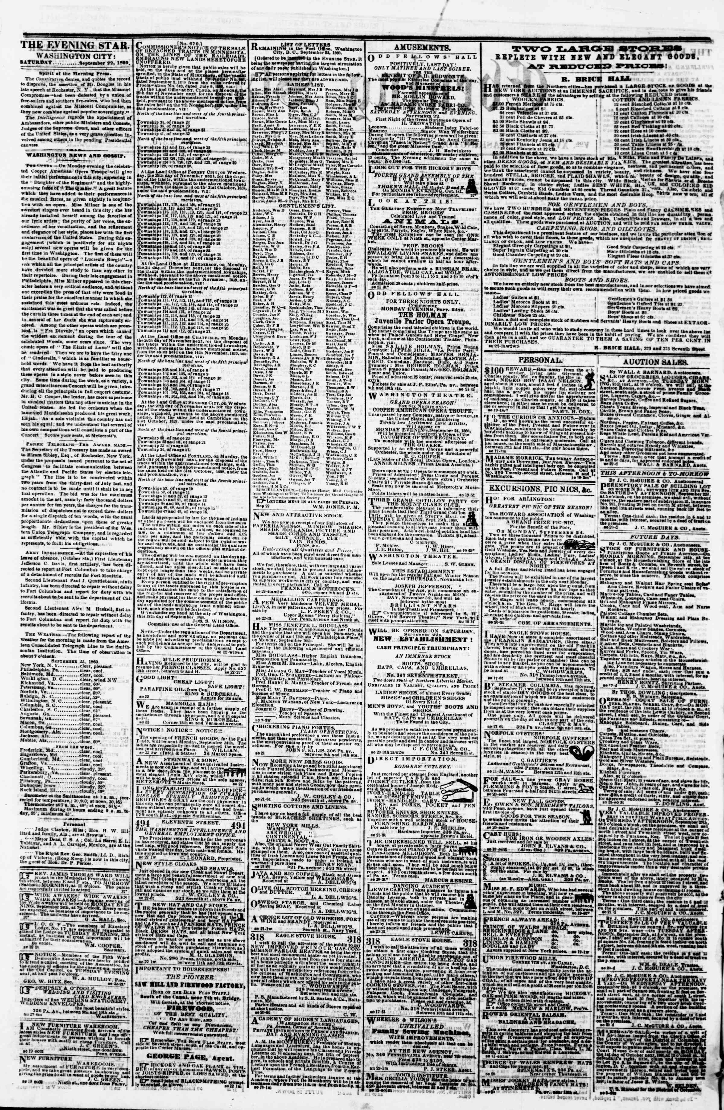 Newspaper of Evening Star dated September 22, 1860 Page 2
