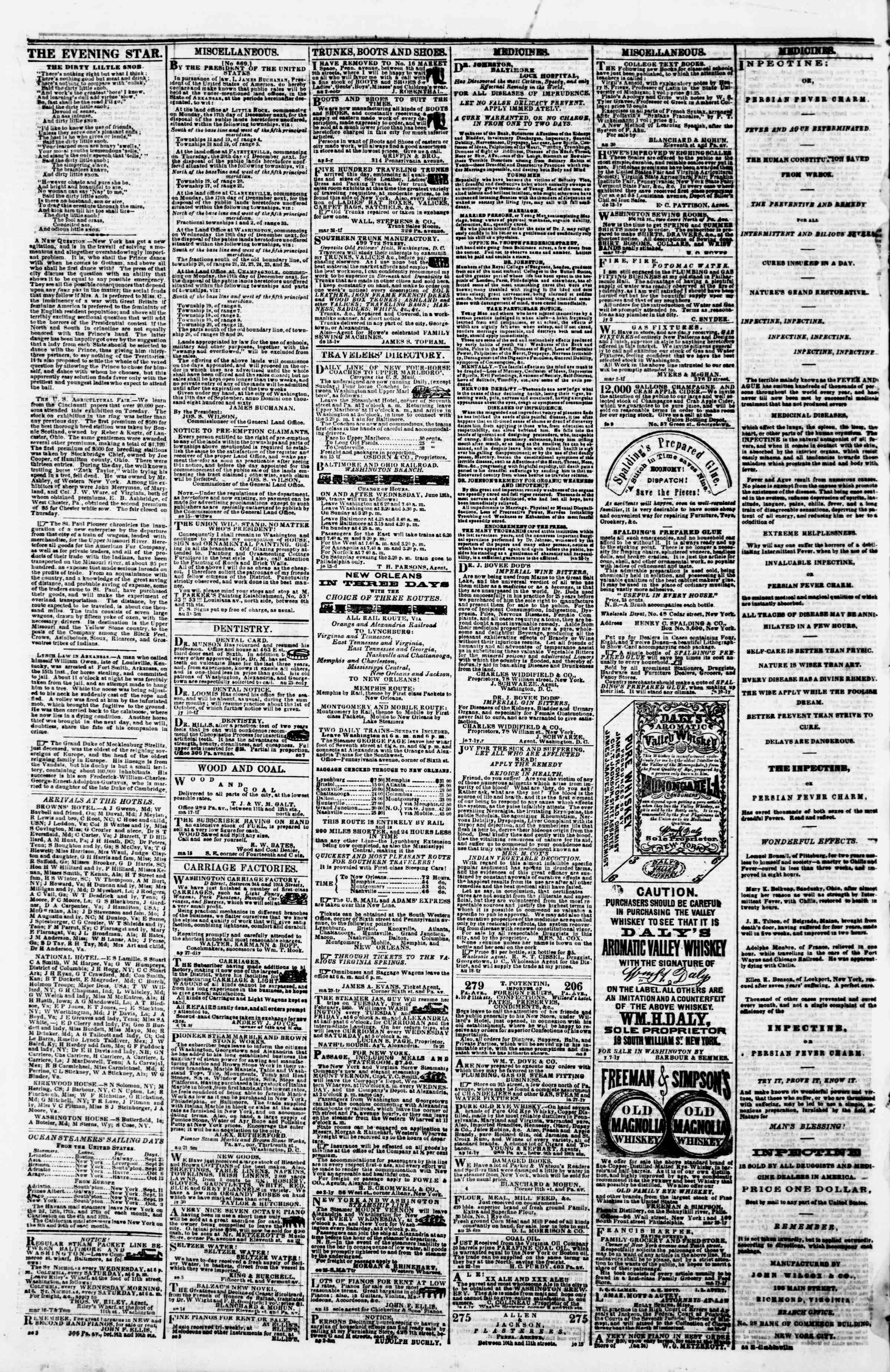 Newspaper of Evening Star dated September 22, 1860 Page 4