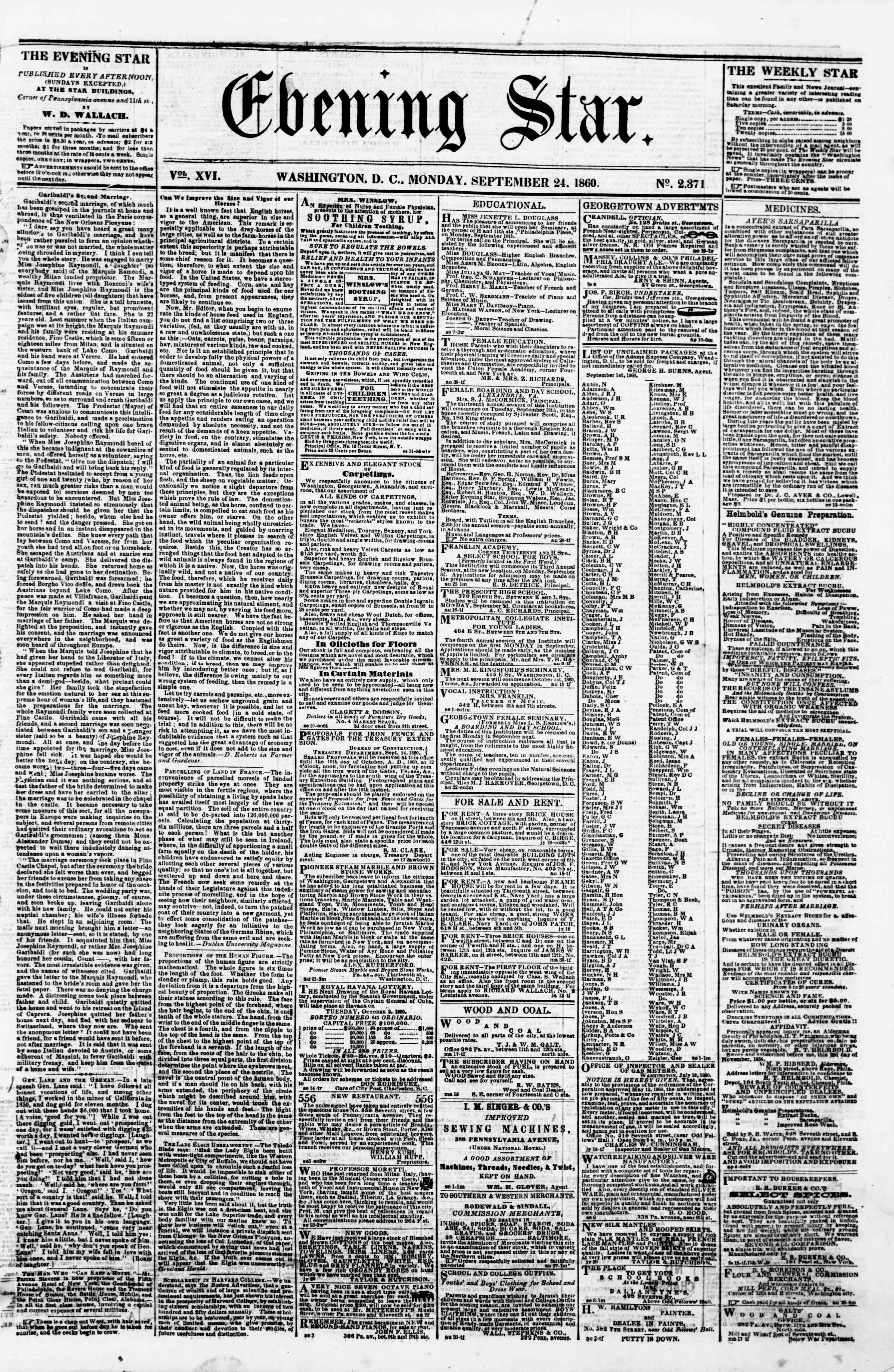 Newspaper of Evening Star dated September 24, 1860 Page 1
