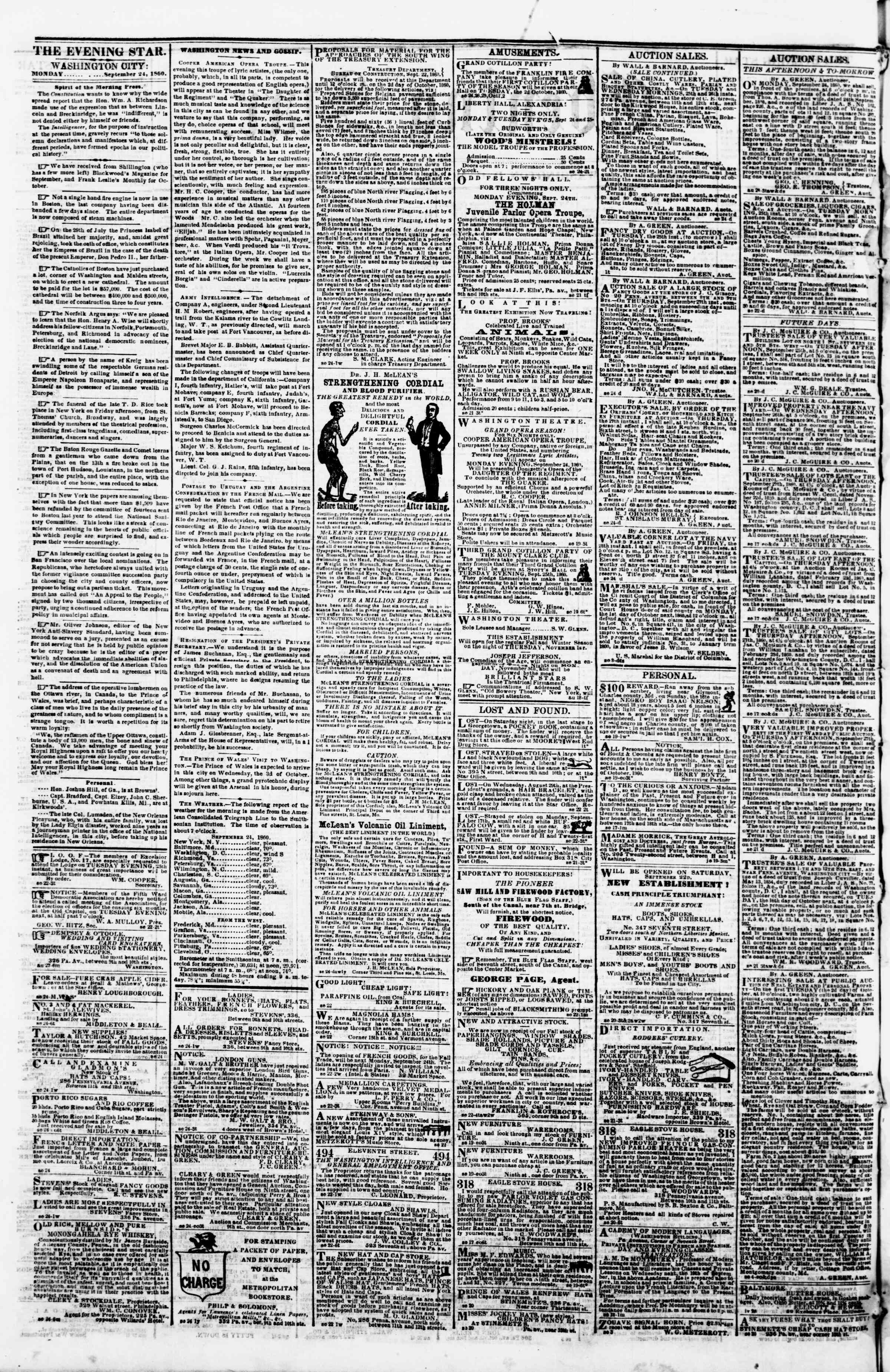 Newspaper of Evening Star dated September 24, 1860 Page 2