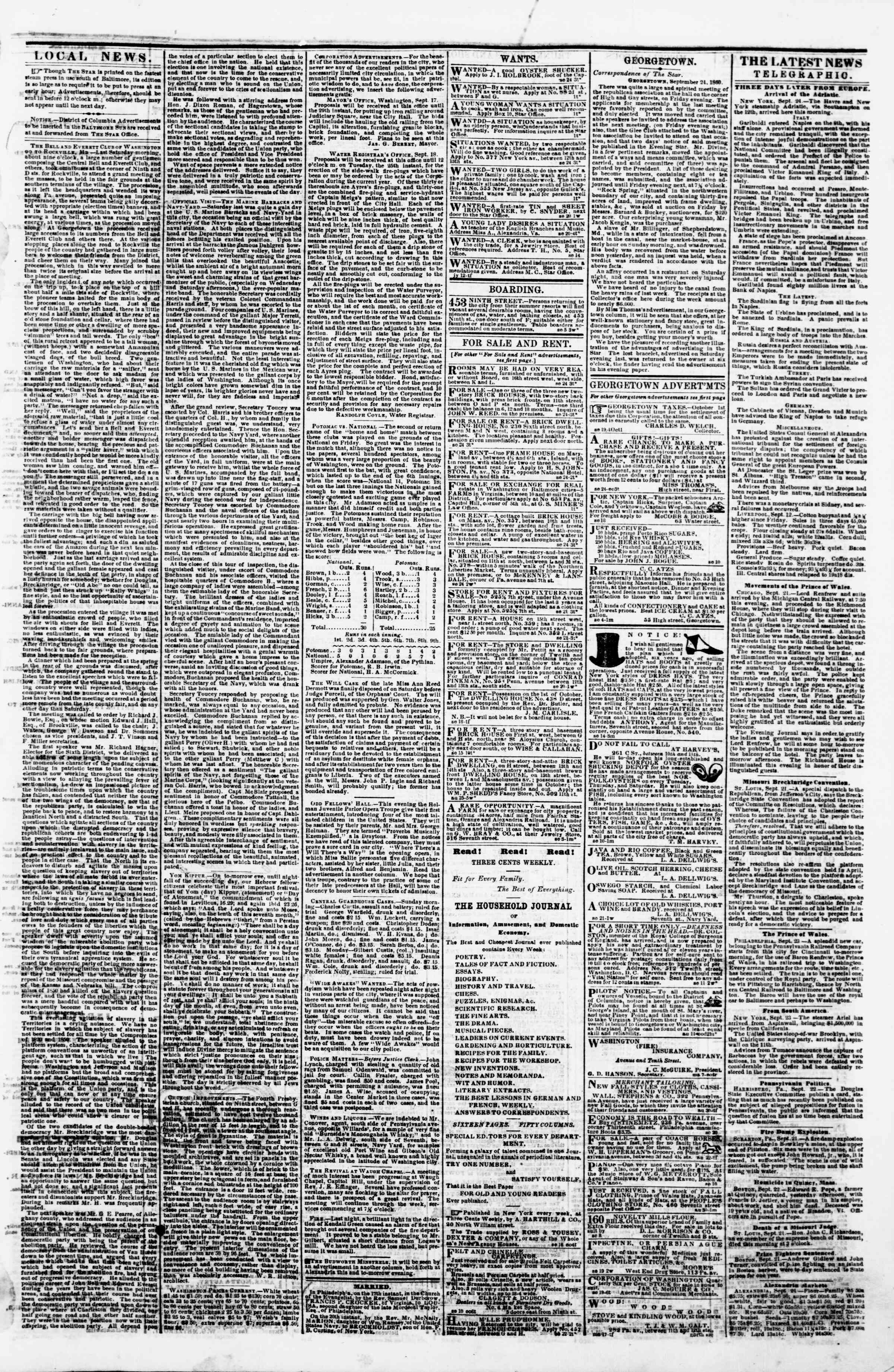 Newspaper of Evening Star dated September 24, 1860 Page 3