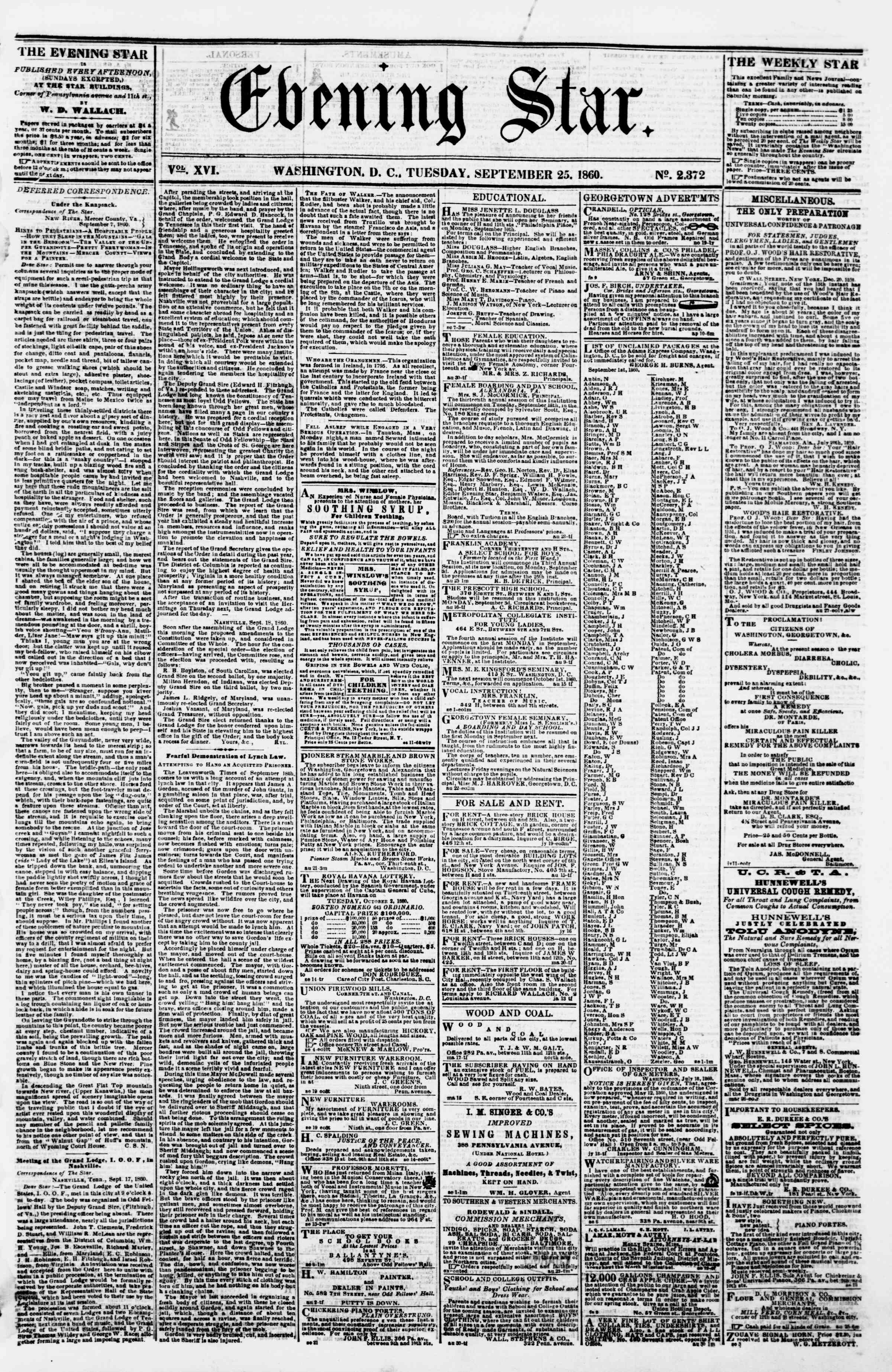 Newspaper of Evening Star dated September 25, 1860 Page 1