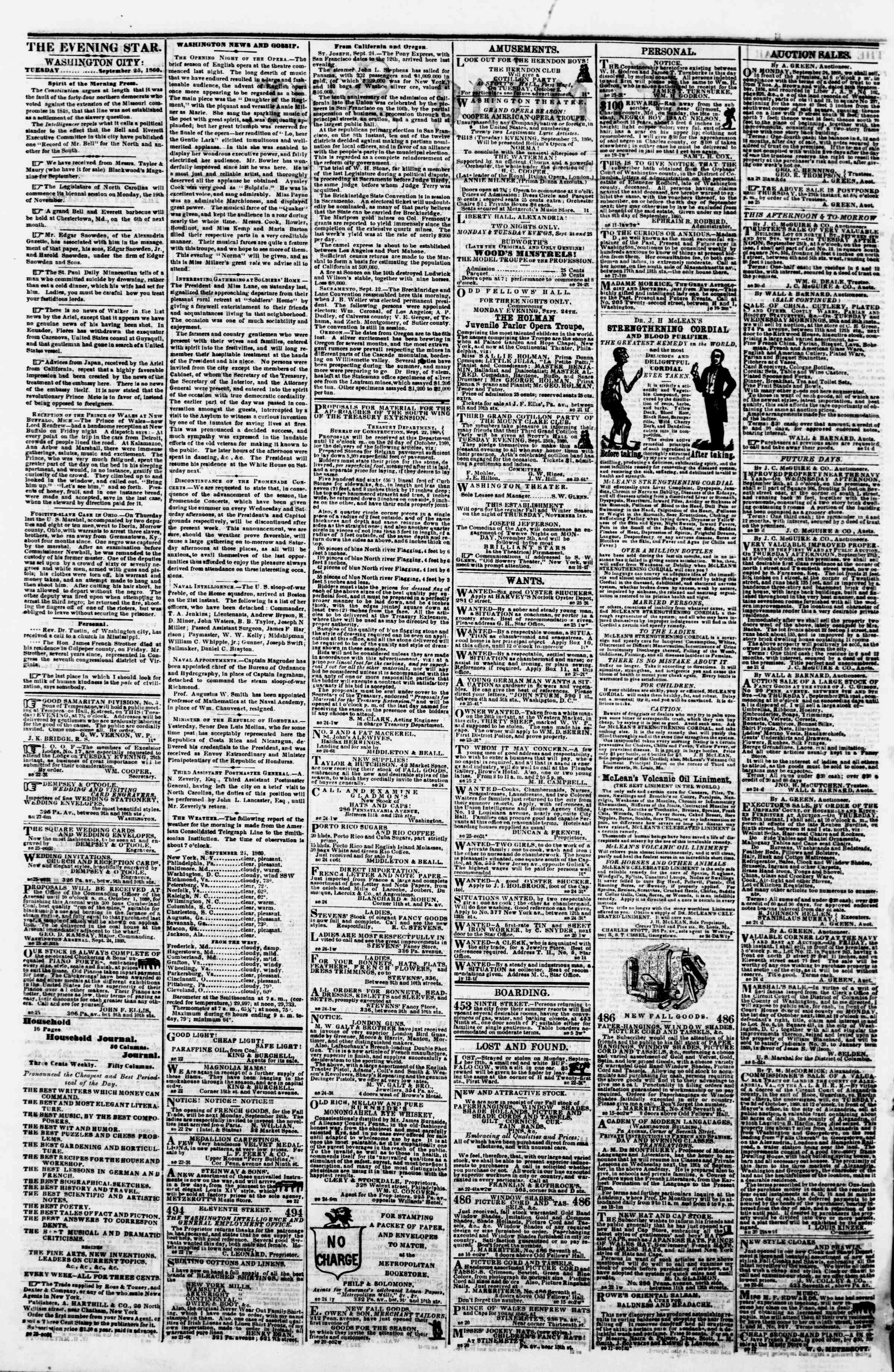 Newspaper of Evening Star dated September 25, 1860 Page 2