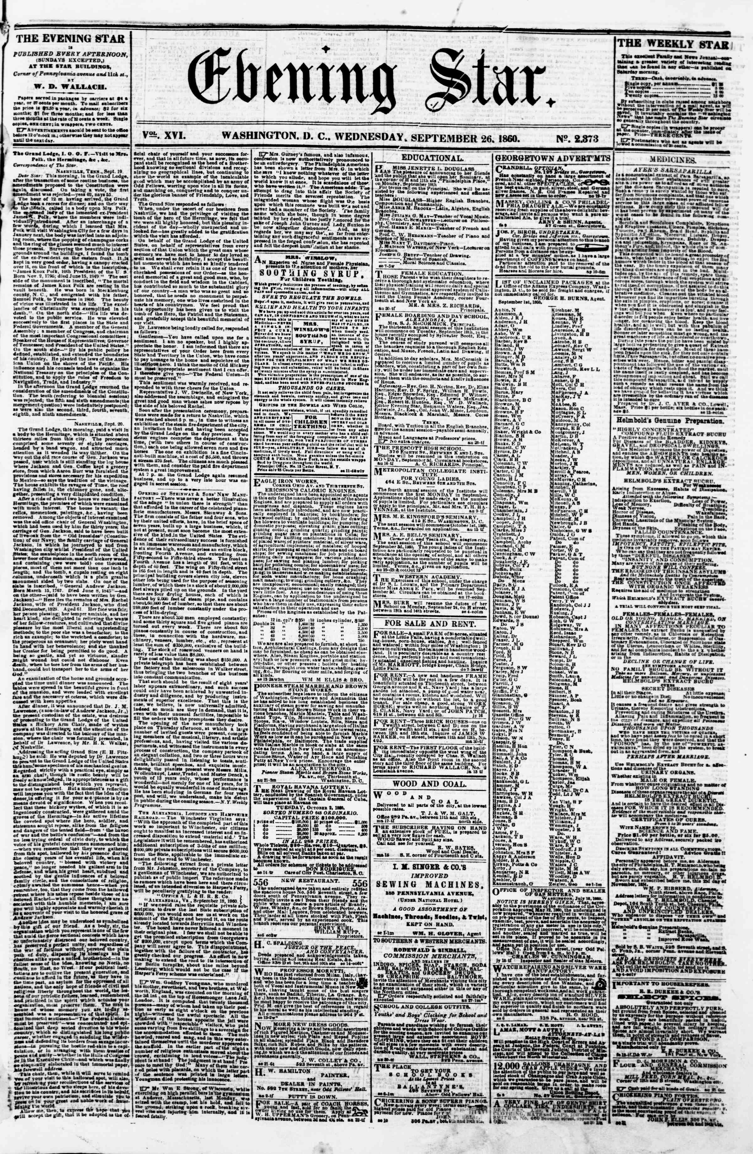 Newspaper of Evening Star dated September 26, 1860 Page 1