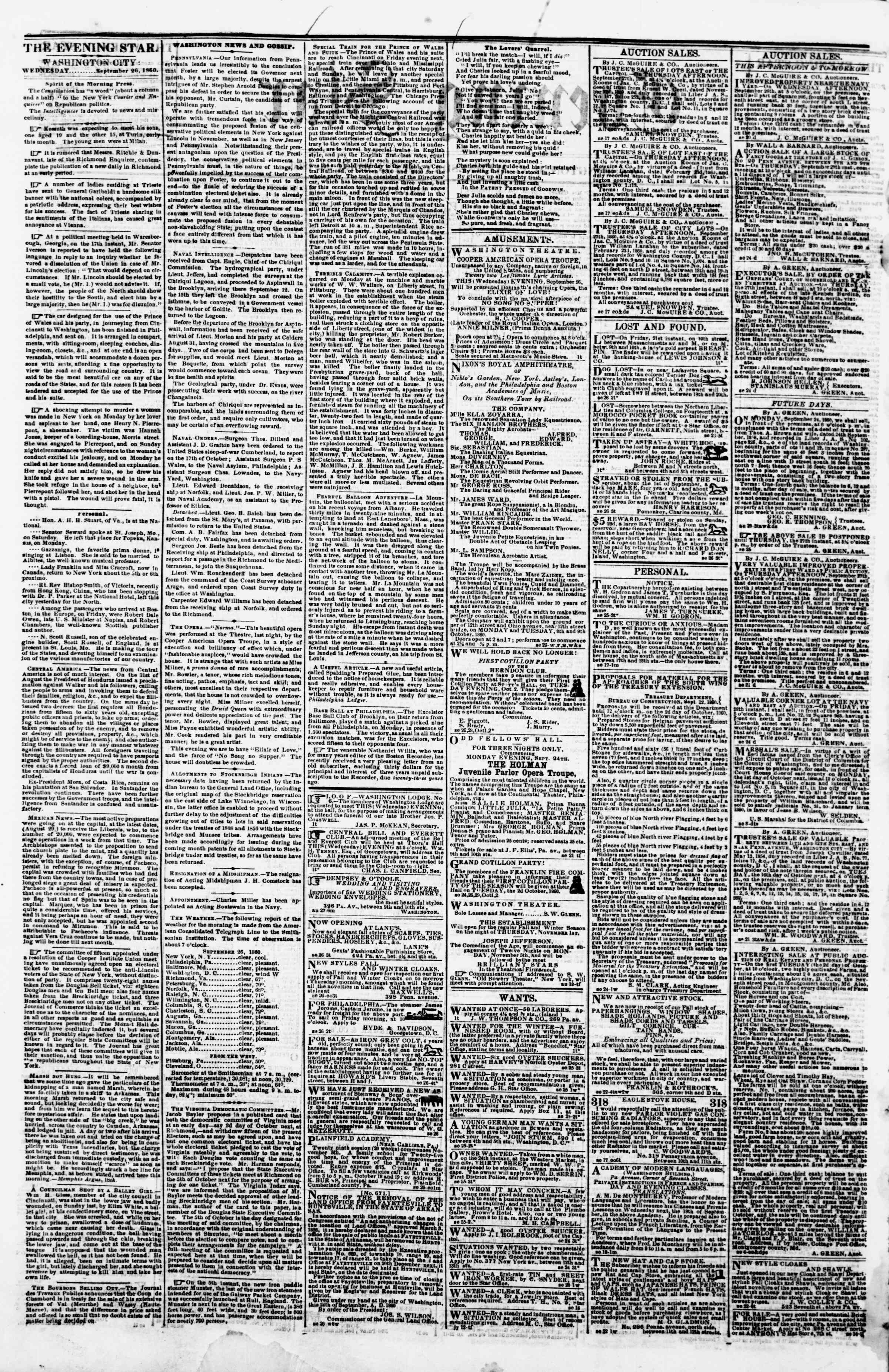 Newspaper of Evening Star dated September 26, 1860 Page 2