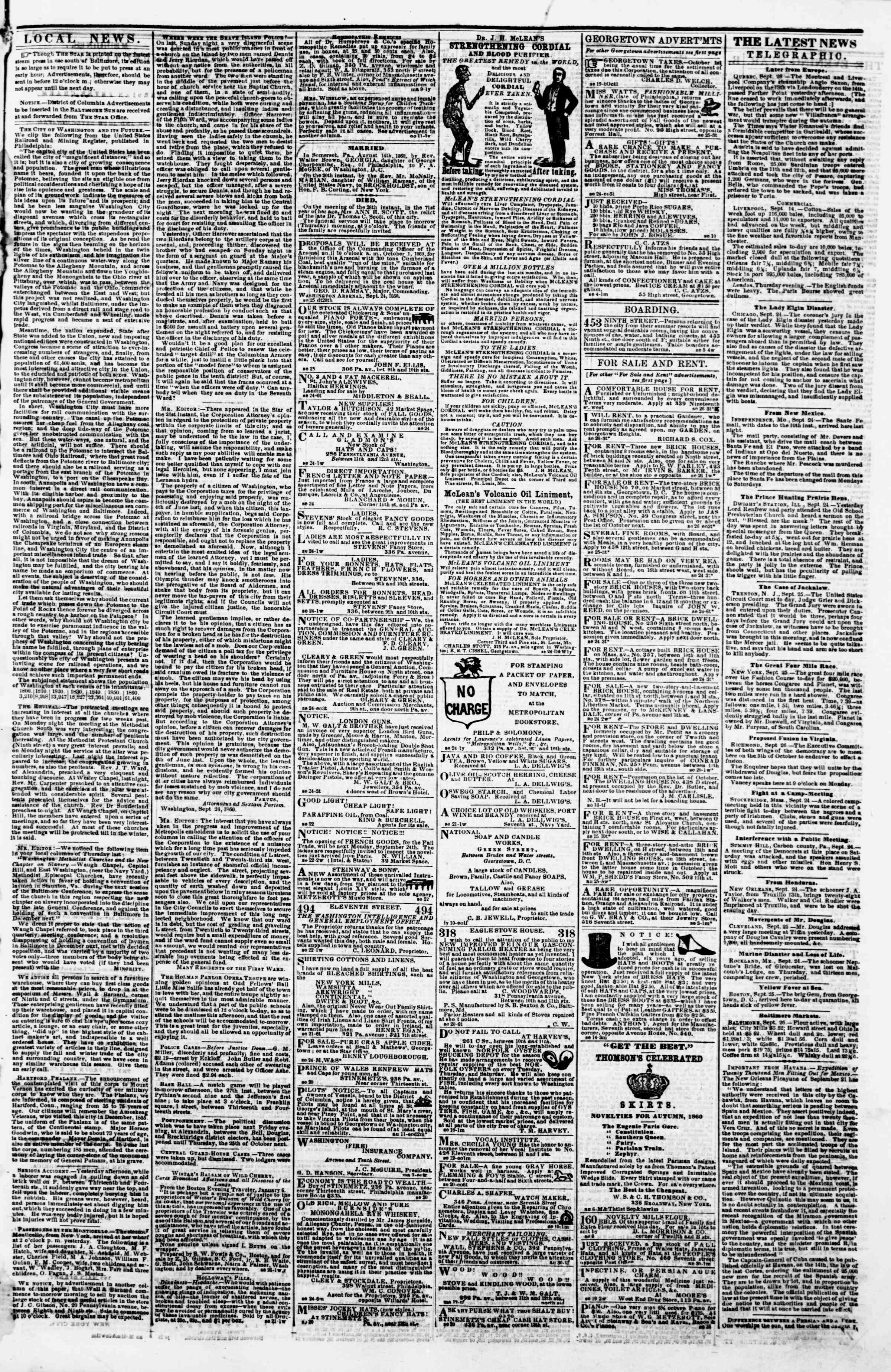 Newspaper of Evening Star dated September 26, 1860 Page 3