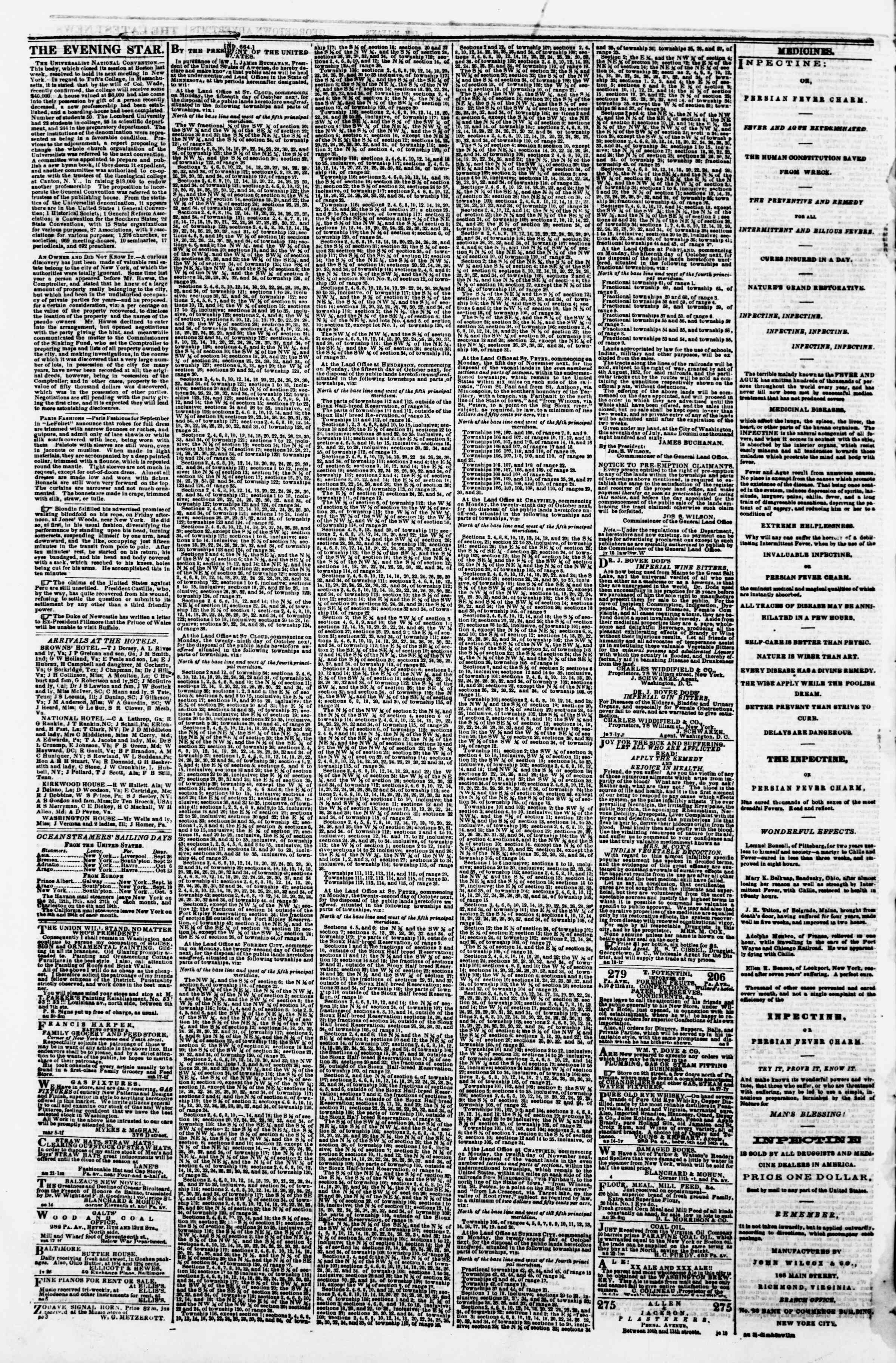 Newspaper of Evening Star dated September 26, 1860 Page 4