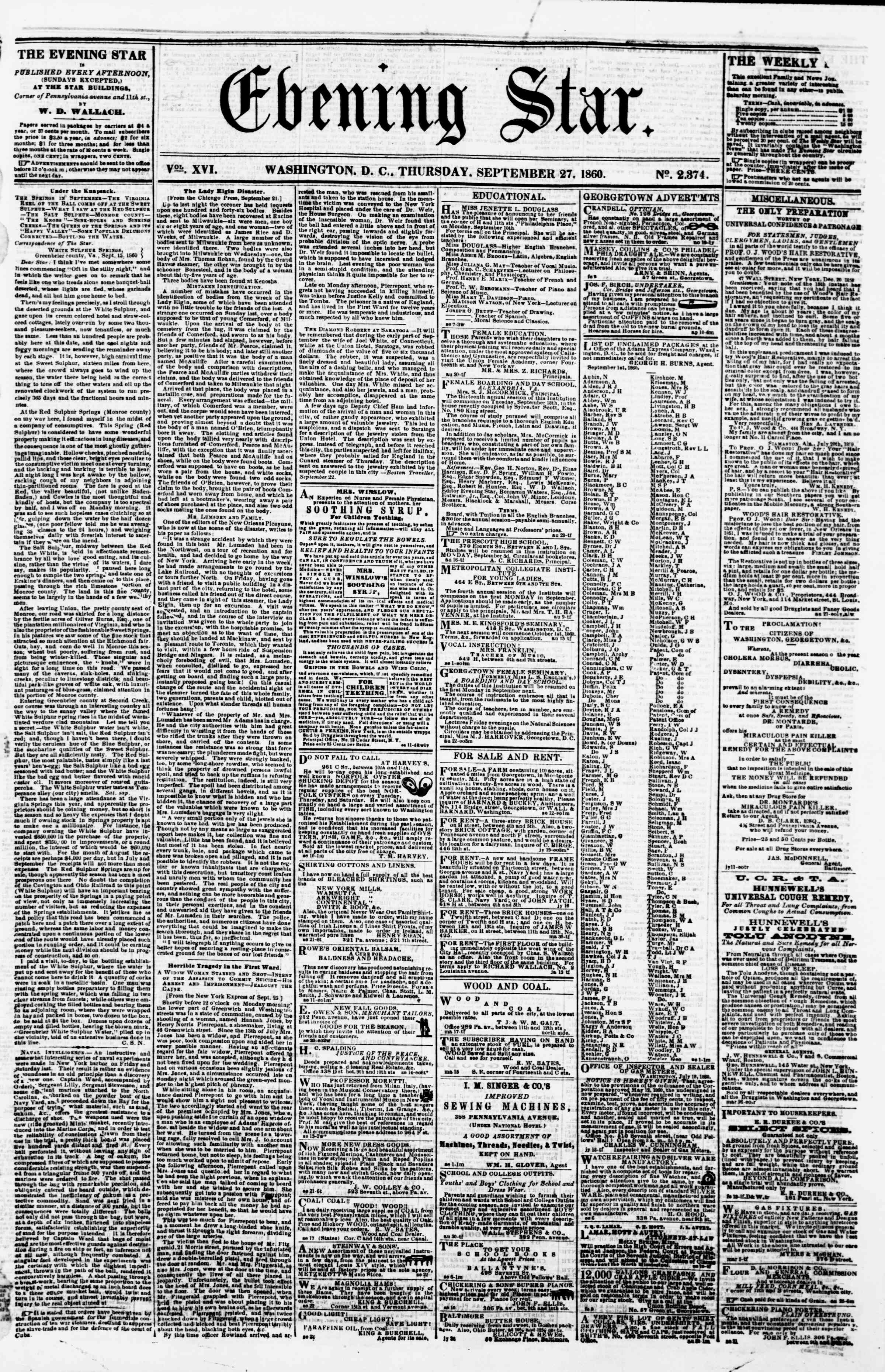 Newspaper of Evening Star dated September 27, 1860 Page 1