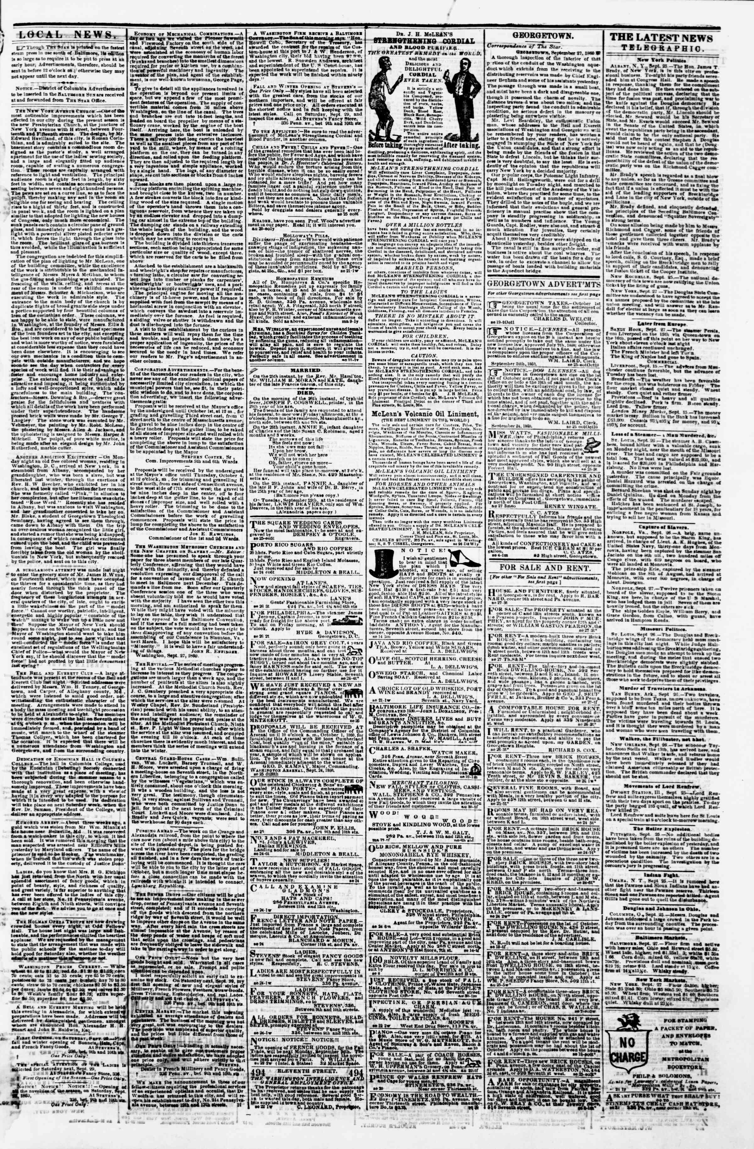 Newspaper of Evening Star dated September 27, 1860 Page 3