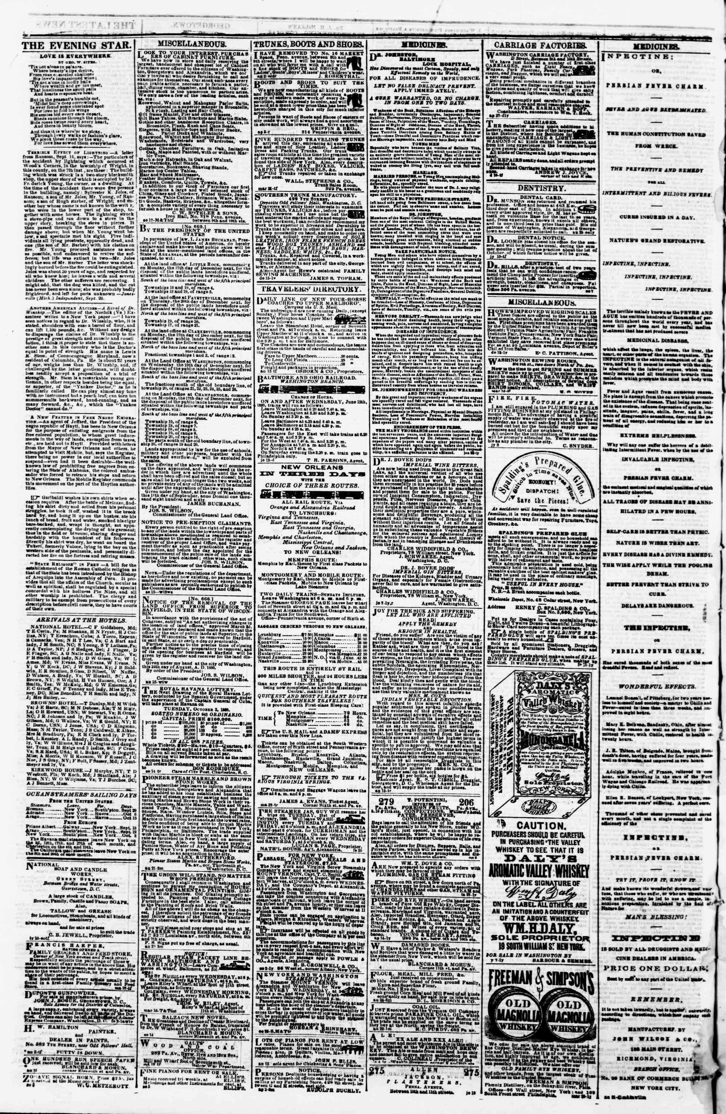 27 Eylül 1860 tarihli Evening Star Gazetesi Sayfa 4