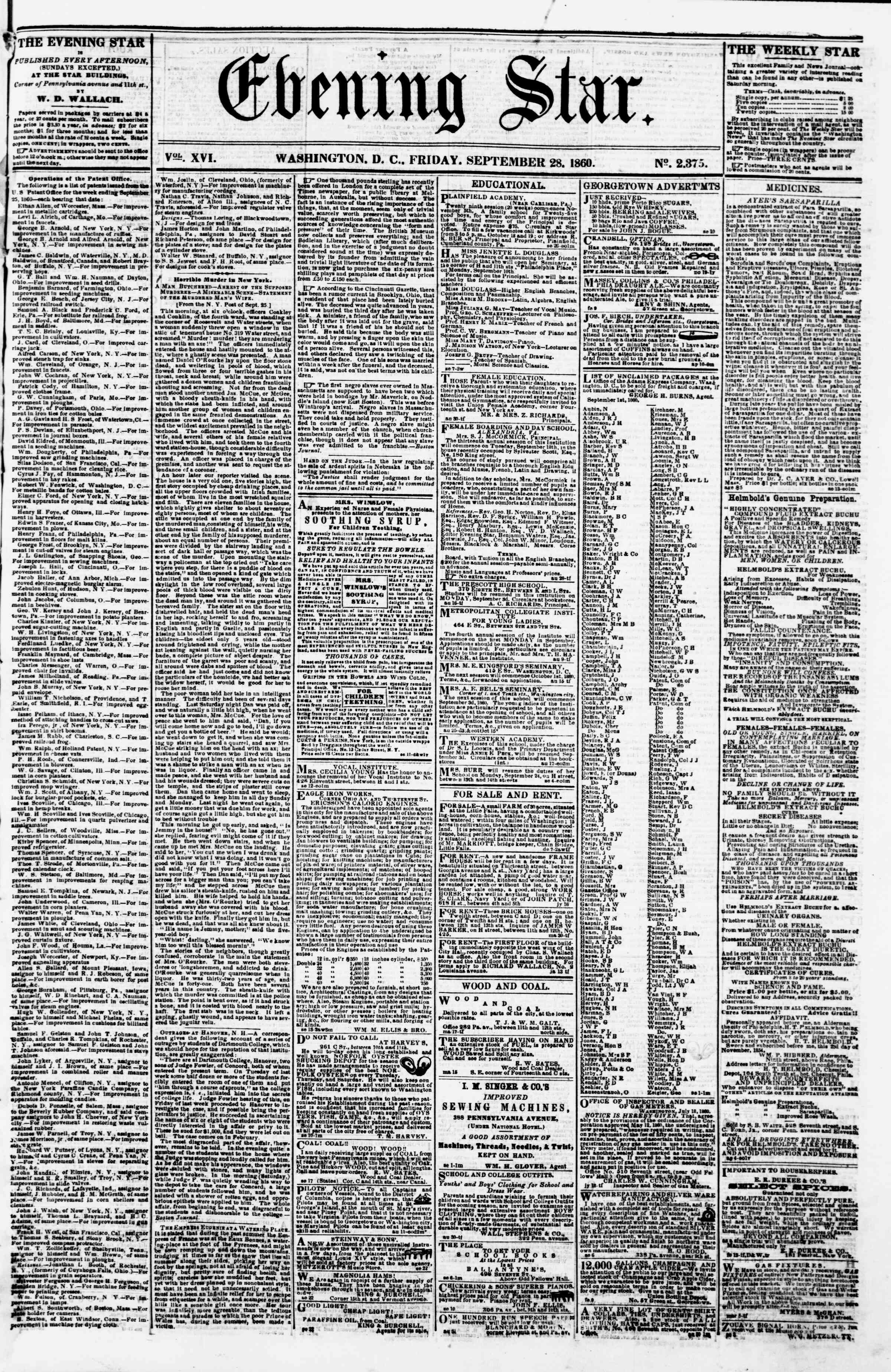 Newspaper of Evening Star dated September 28, 1860 Page 1