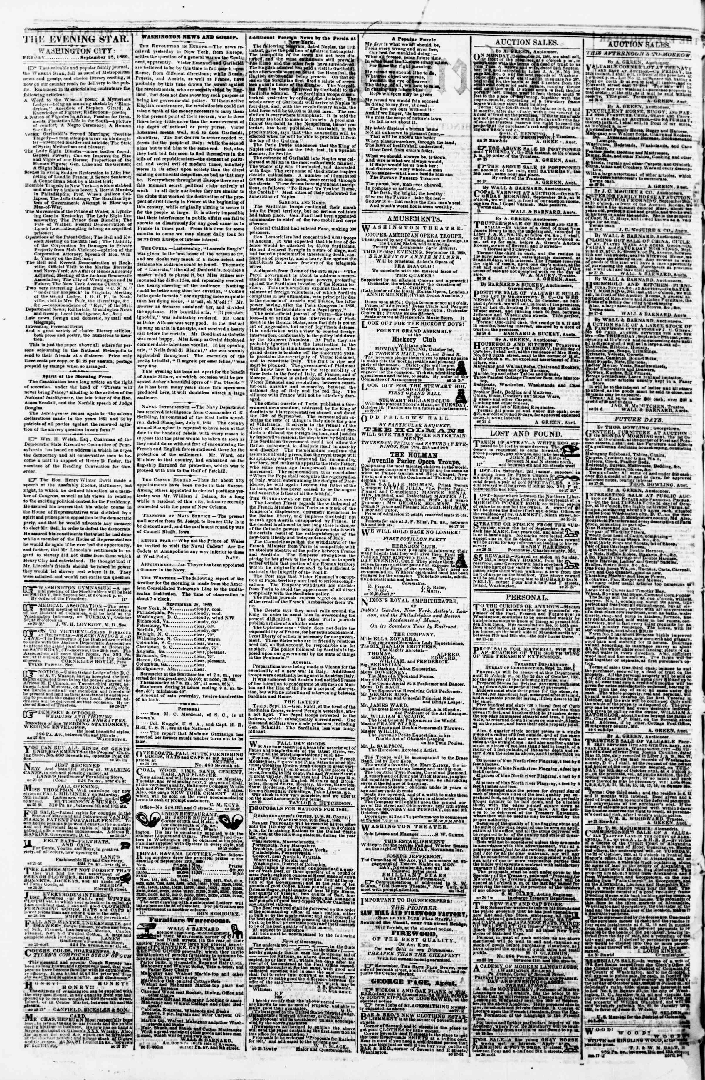 Newspaper of Evening Star dated September 28, 1860 Page 2