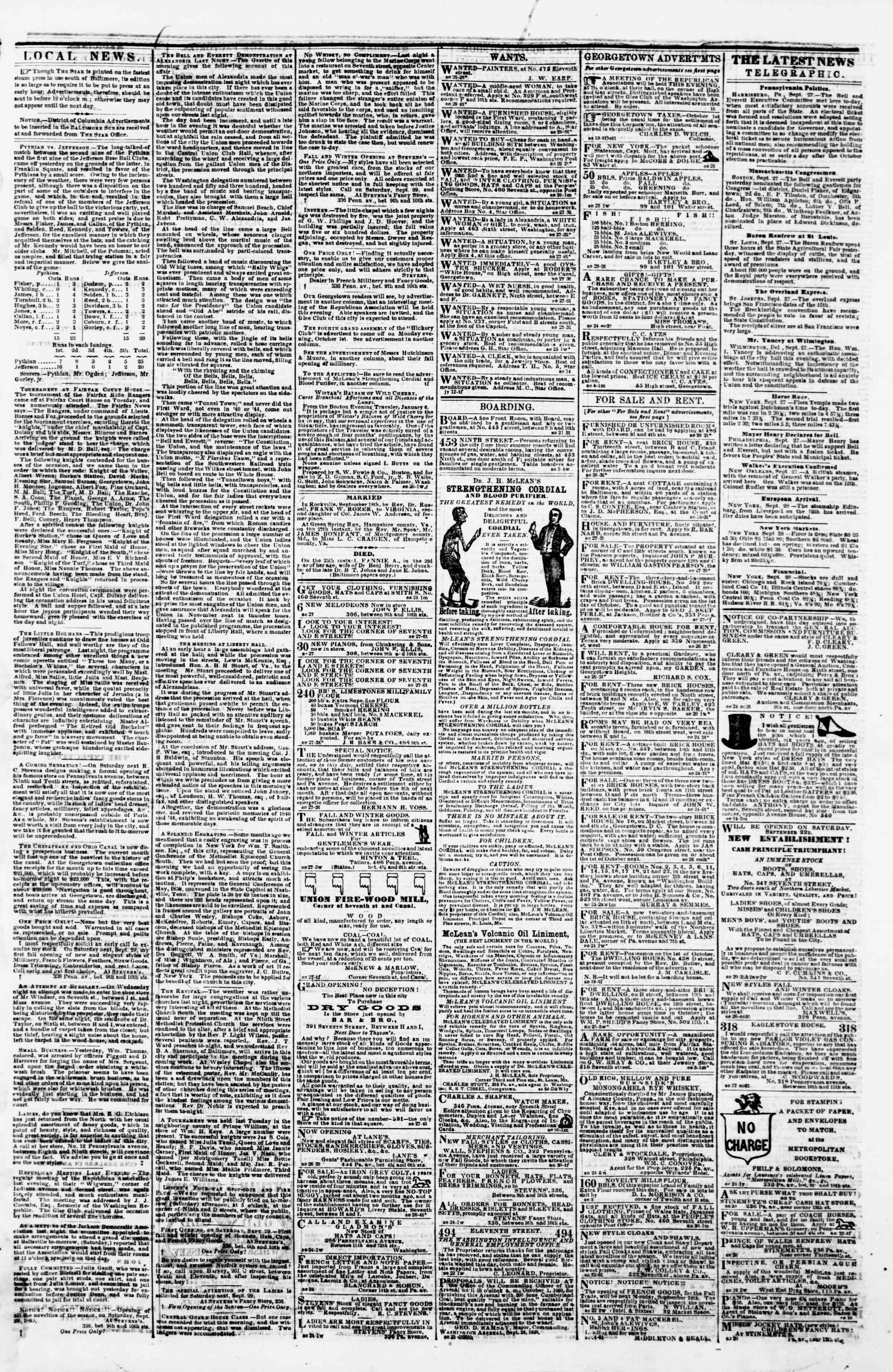 Newspaper of Evening Star dated September 28, 1860 Page 3