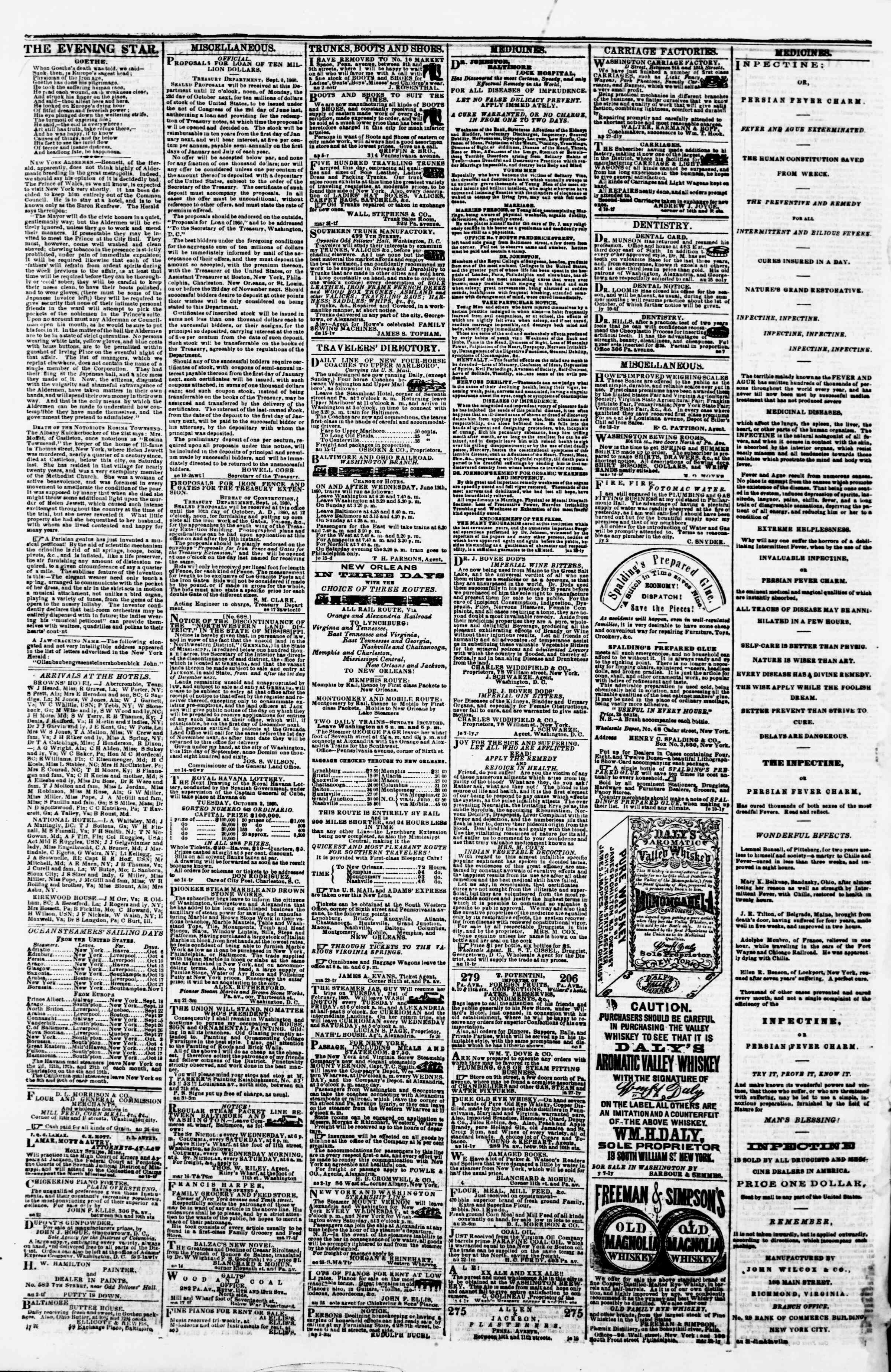 Newspaper of Evening Star dated September 28, 1860 Page 4