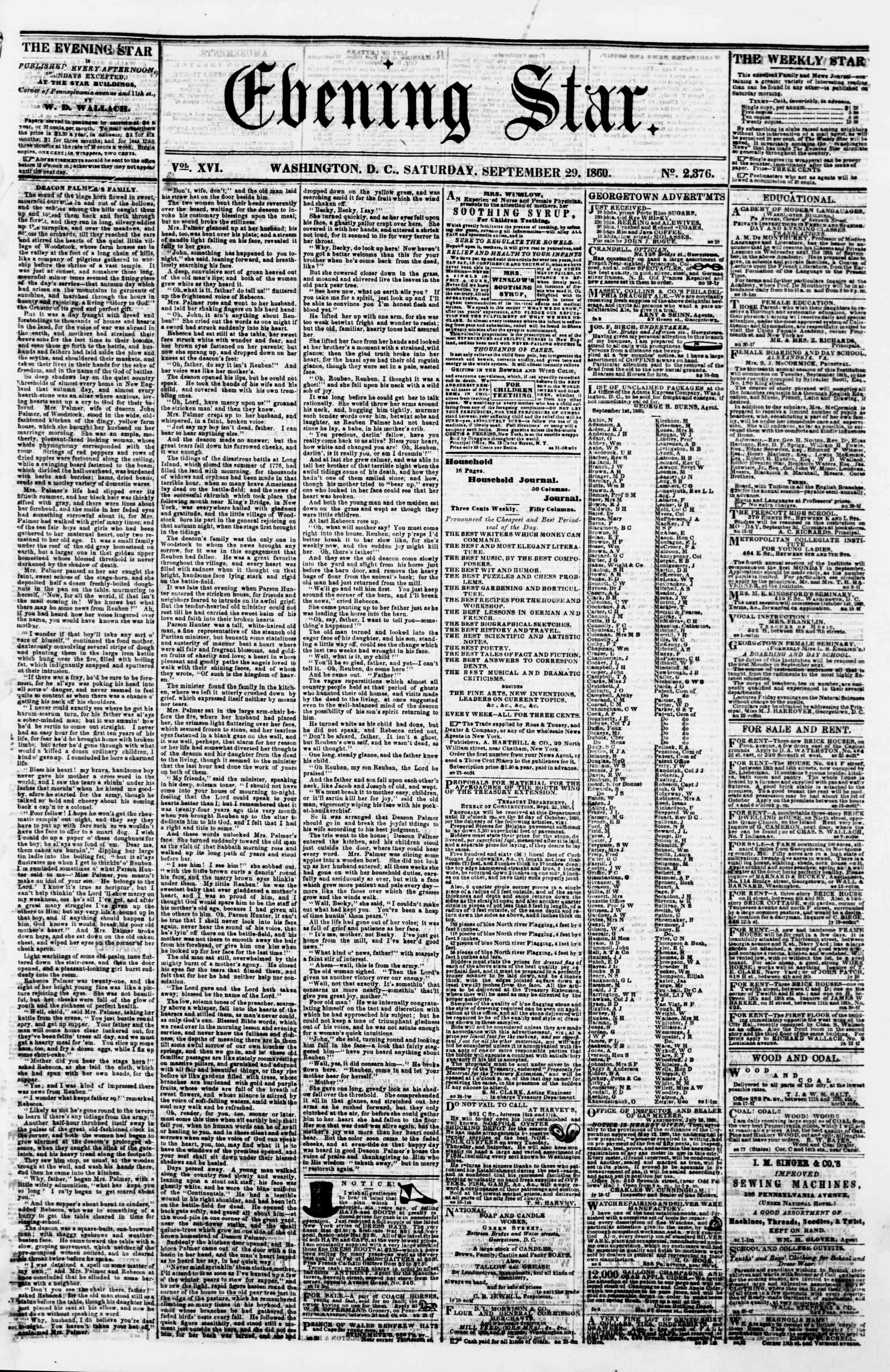 Newspaper of Evening Star dated September 29, 1860 Page 1