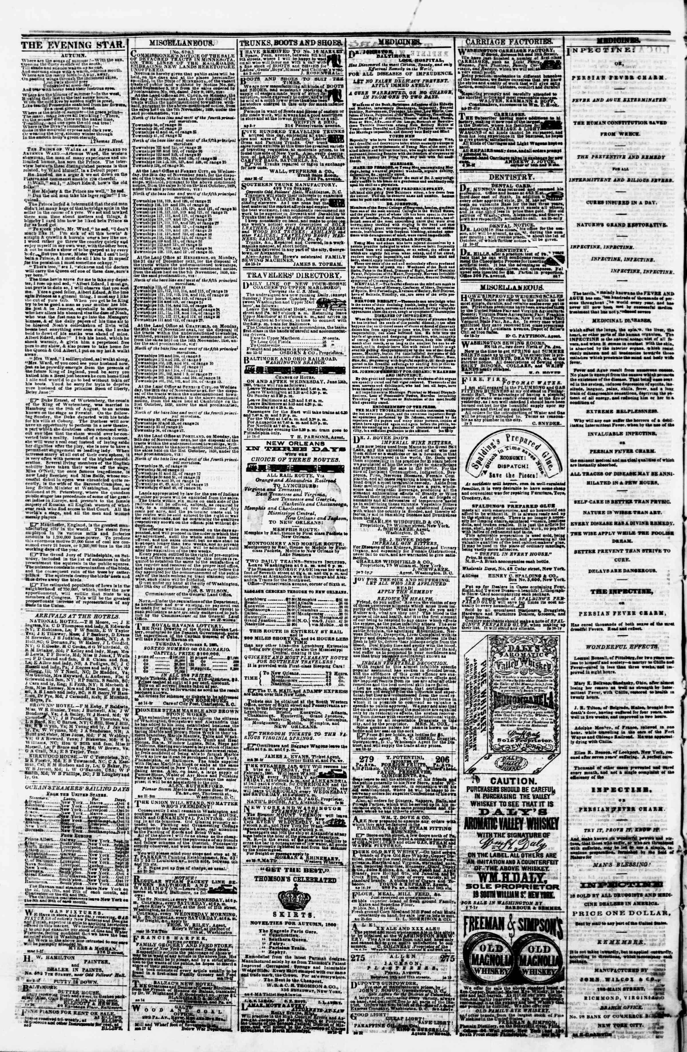 Newspaper of Evening Star dated September 29, 1860 Page 4
