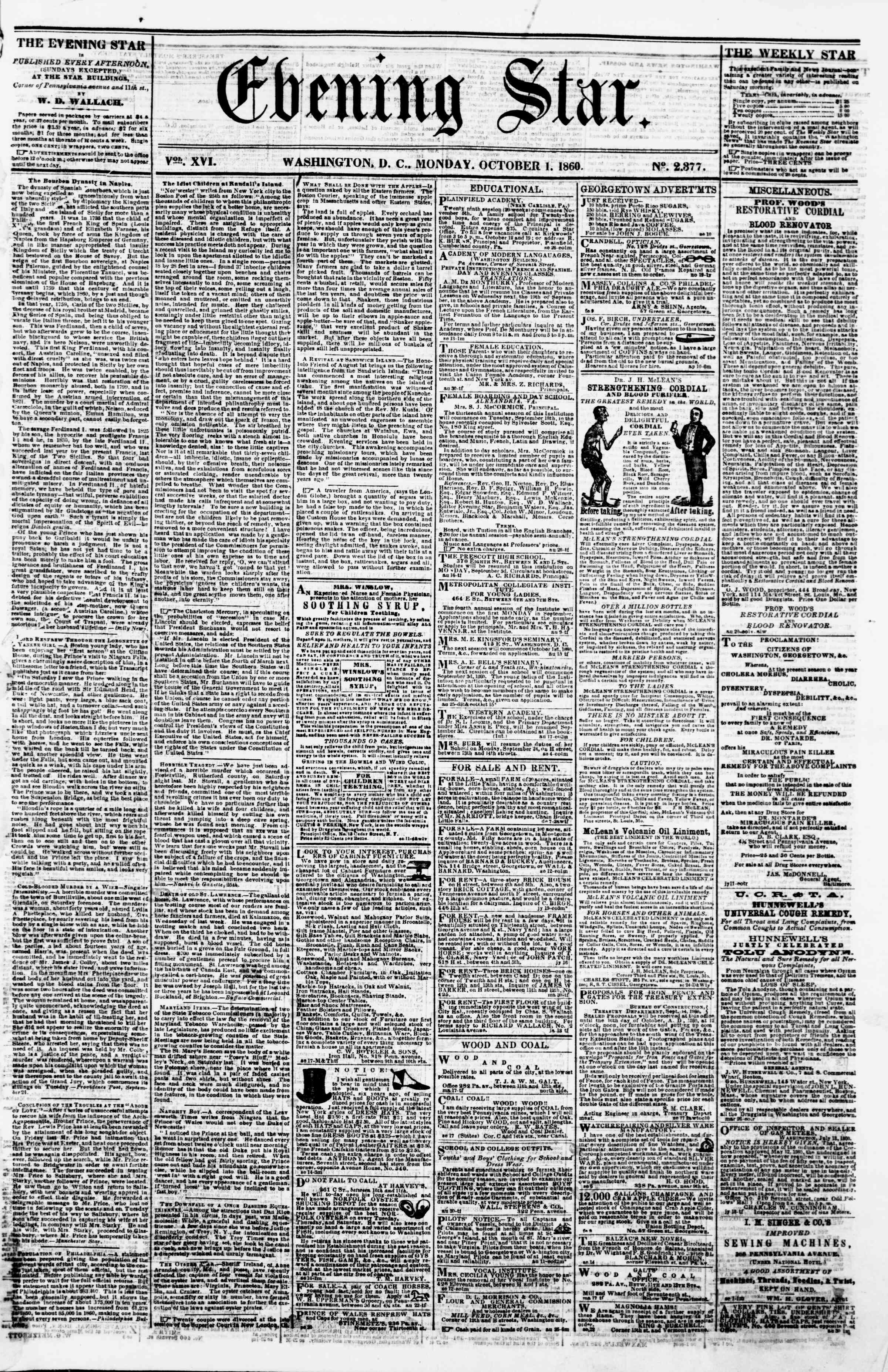Newspaper of Evening Star dated October 1, 1860 Page 1
