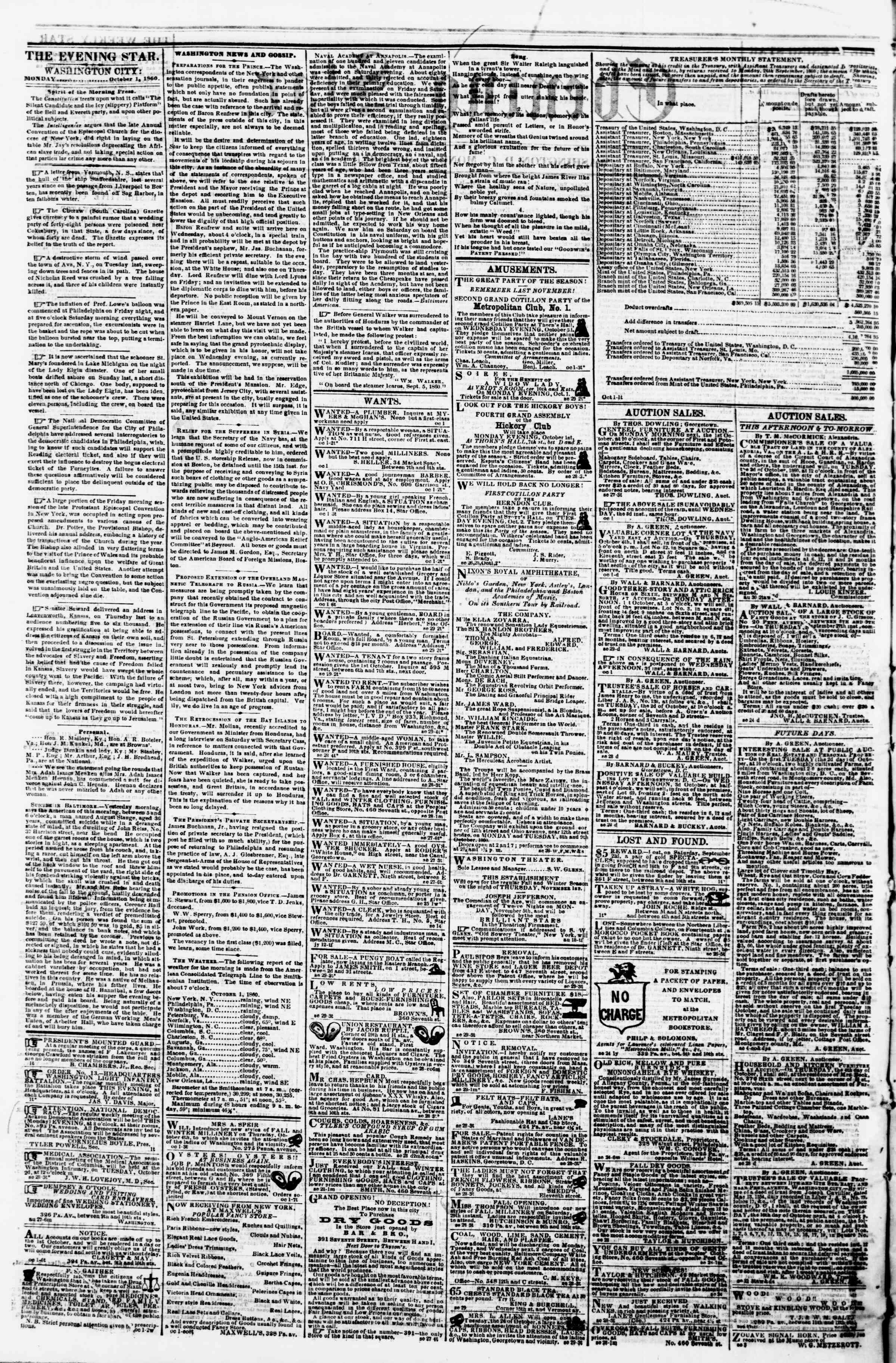Newspaper of Evening Star dated October 1, 1860 Page 2