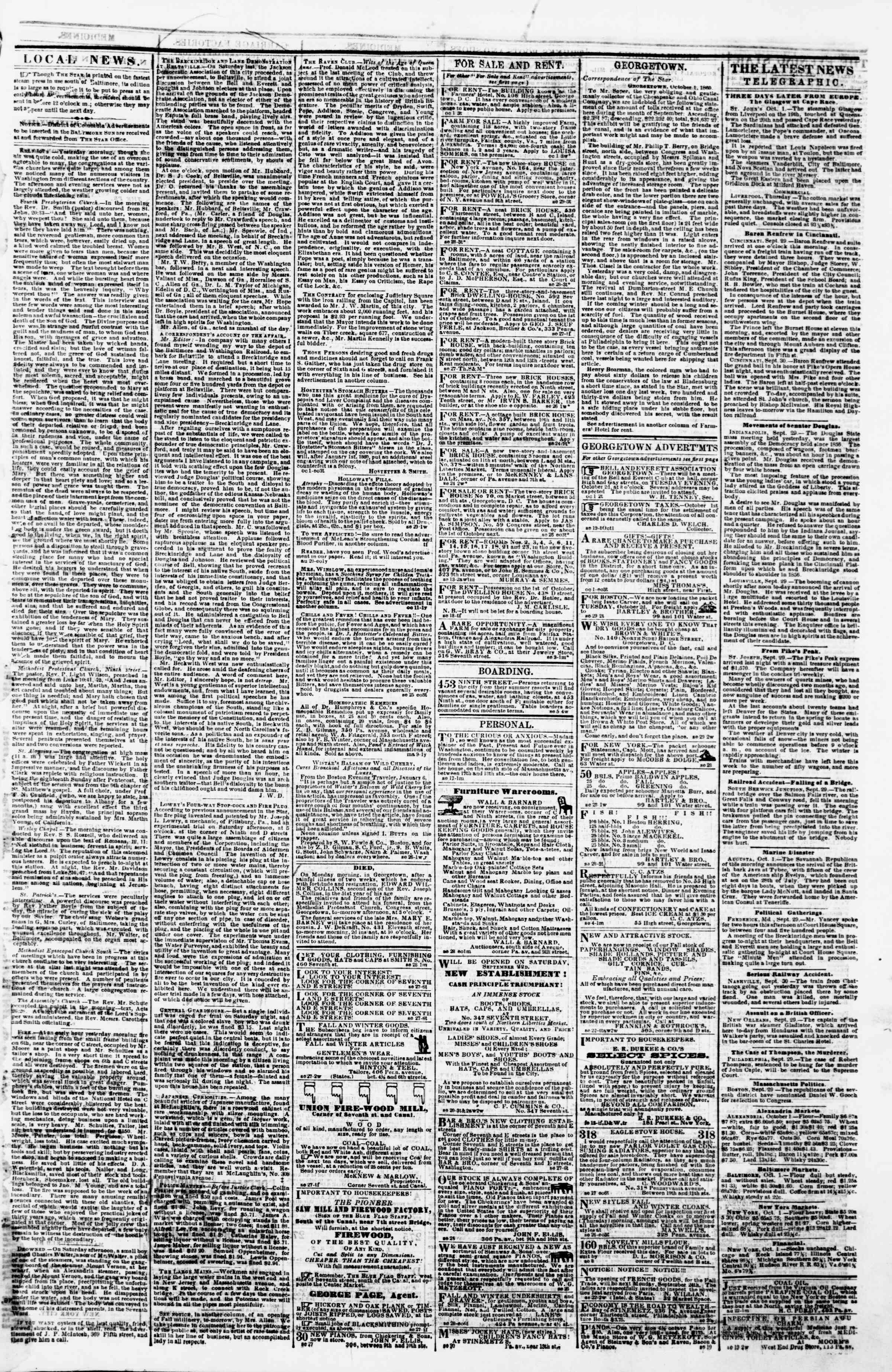 Newspaper of Evening Star dated October 1, 1860 Page 3