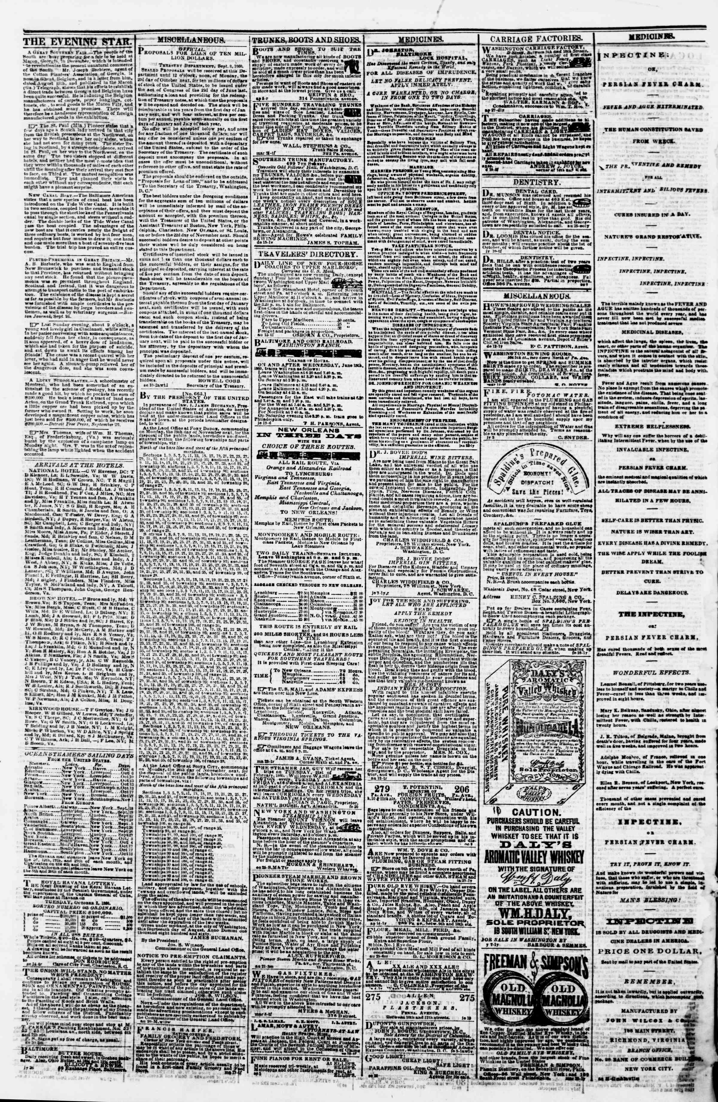 Newspaper of Evening Star dated October 1, 1860 Page 4