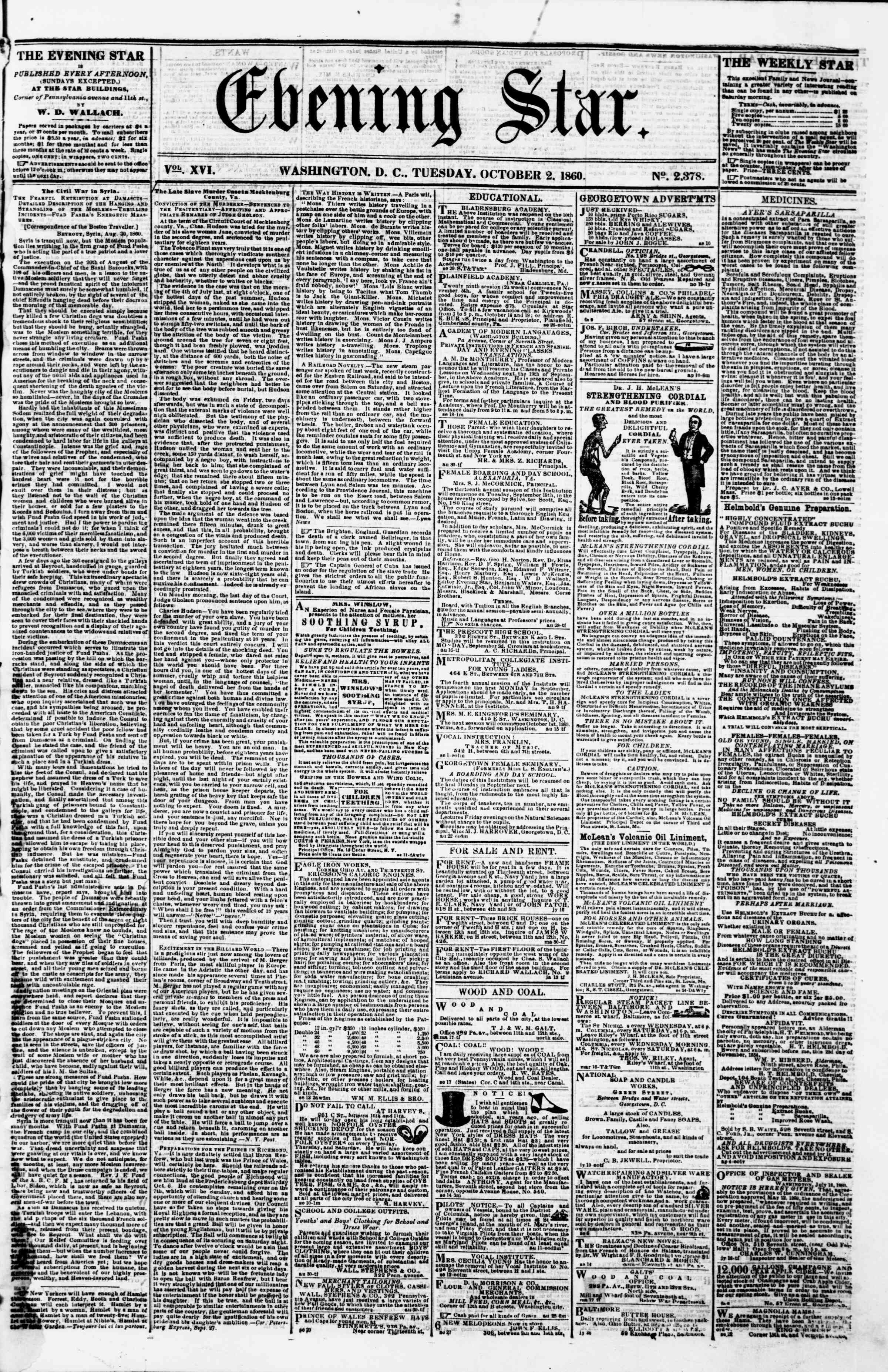 Newspaper of Evening Star dated October 2, 1860 Page 1