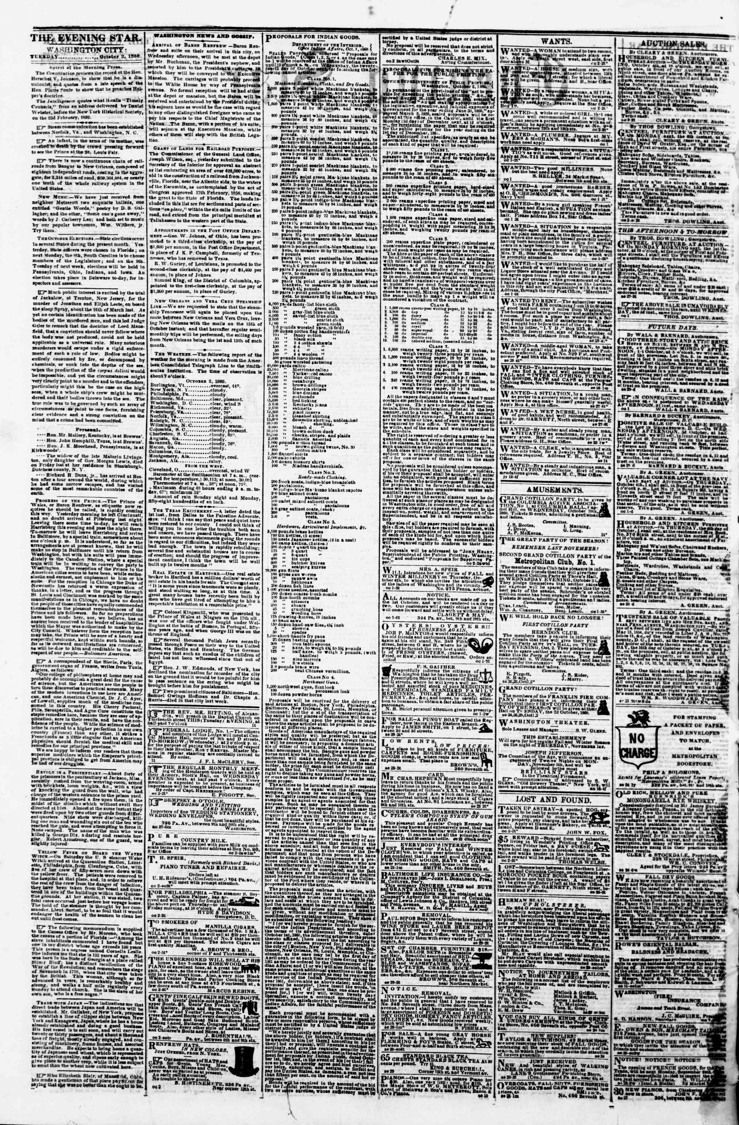 Newspaper of Evening Star dated October 2, 1860 Page 2